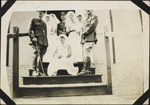 Photograph of five nursing sisters and three officers of No. 6 Canadian General Hospital, Joinville-le-Pont, France, June 1918