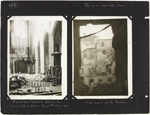 Page 118 from Alice Isaacson's photo album with two views of bomb-damaged buildings, Paris, France, March 29 to April 30, 1918