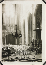 Photograph of the interior of �glise Saint-Gervais-Saint-Protais, with rubble on the floor and light coming through the ceiling, Paris, France, March-April, 1918