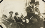 Photograph of King Albert I of Belgium and President Raymond Poincar� of France riding in a carriage, Paris, France, December 5, 1918