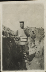 Photograph of Lieutenant Perrichon in a trench, Verdun, France, August 1916