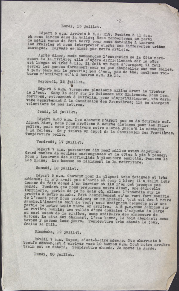 Transcription du journal de S&#233;v&#232;re Gagnon durant la Marche vers l'Ouest, 1874, 17 pages [version fran&#231;aise].
