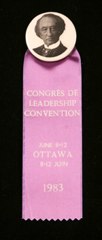 1983 Progressive Conservative leadership convention button and ribbon with the image of SirJohnA.Macdonald