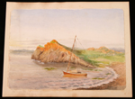 Watercolour, THE WATER LILY AT ANCHOR IN SUNSET, RIVI&#200;RE DU LOUP, by Lady Agnes Macdonald, July 1880