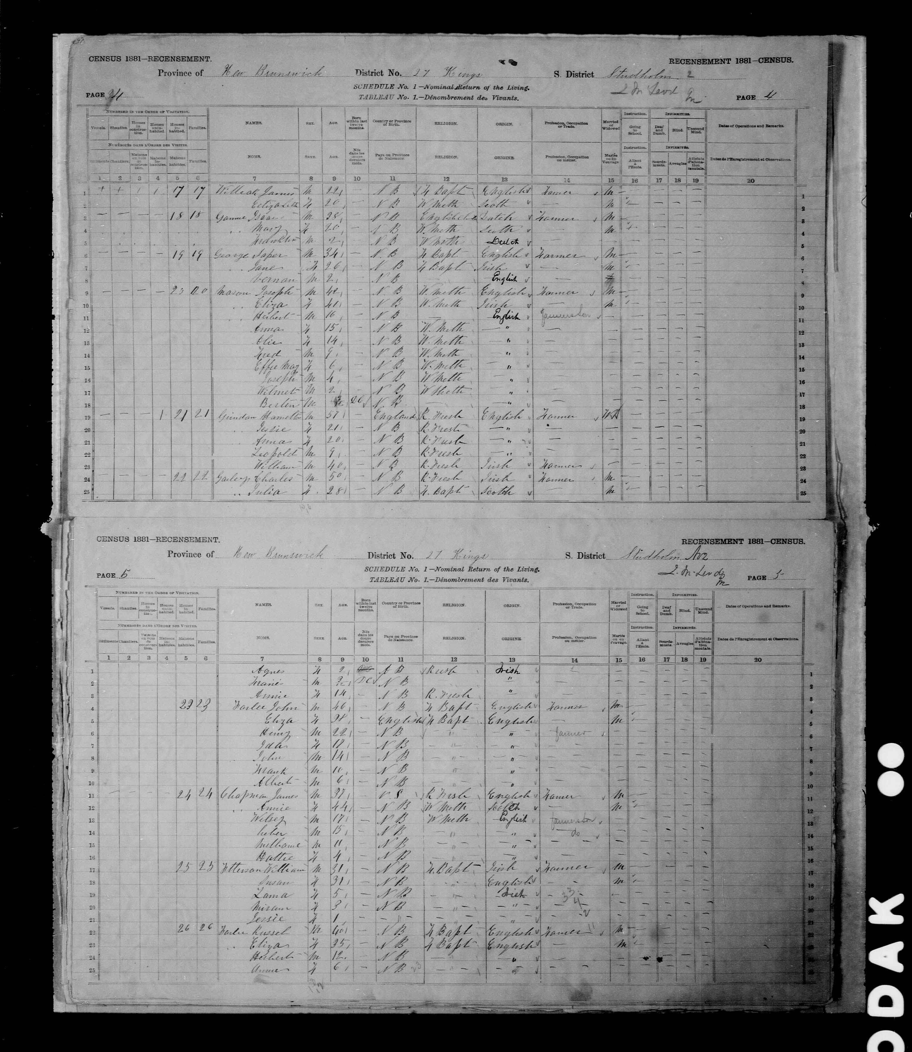Digitized page of Census of Canada, 1881 for e008131258