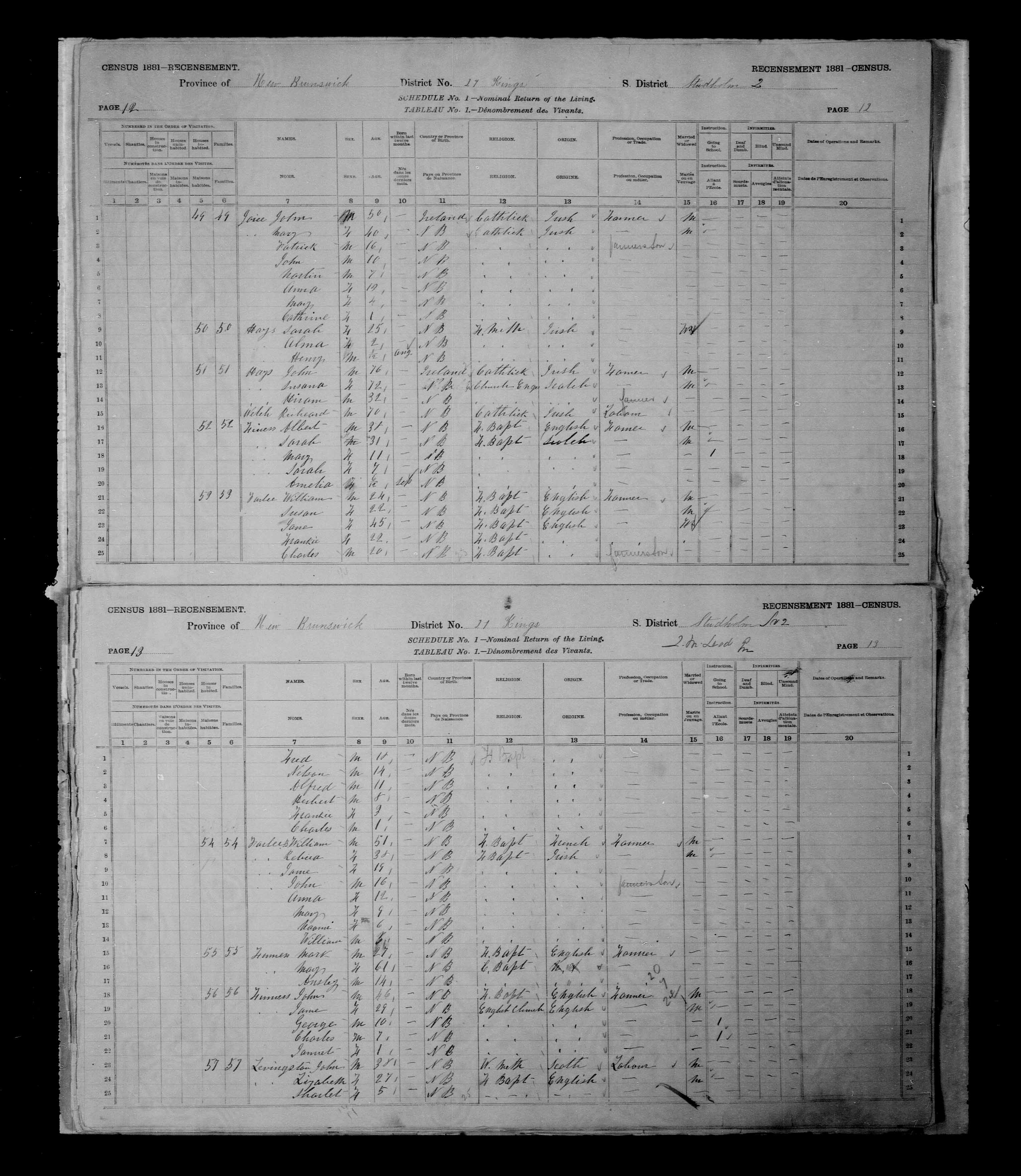 Digitized page of Census of Canada, 1881 for e008131262