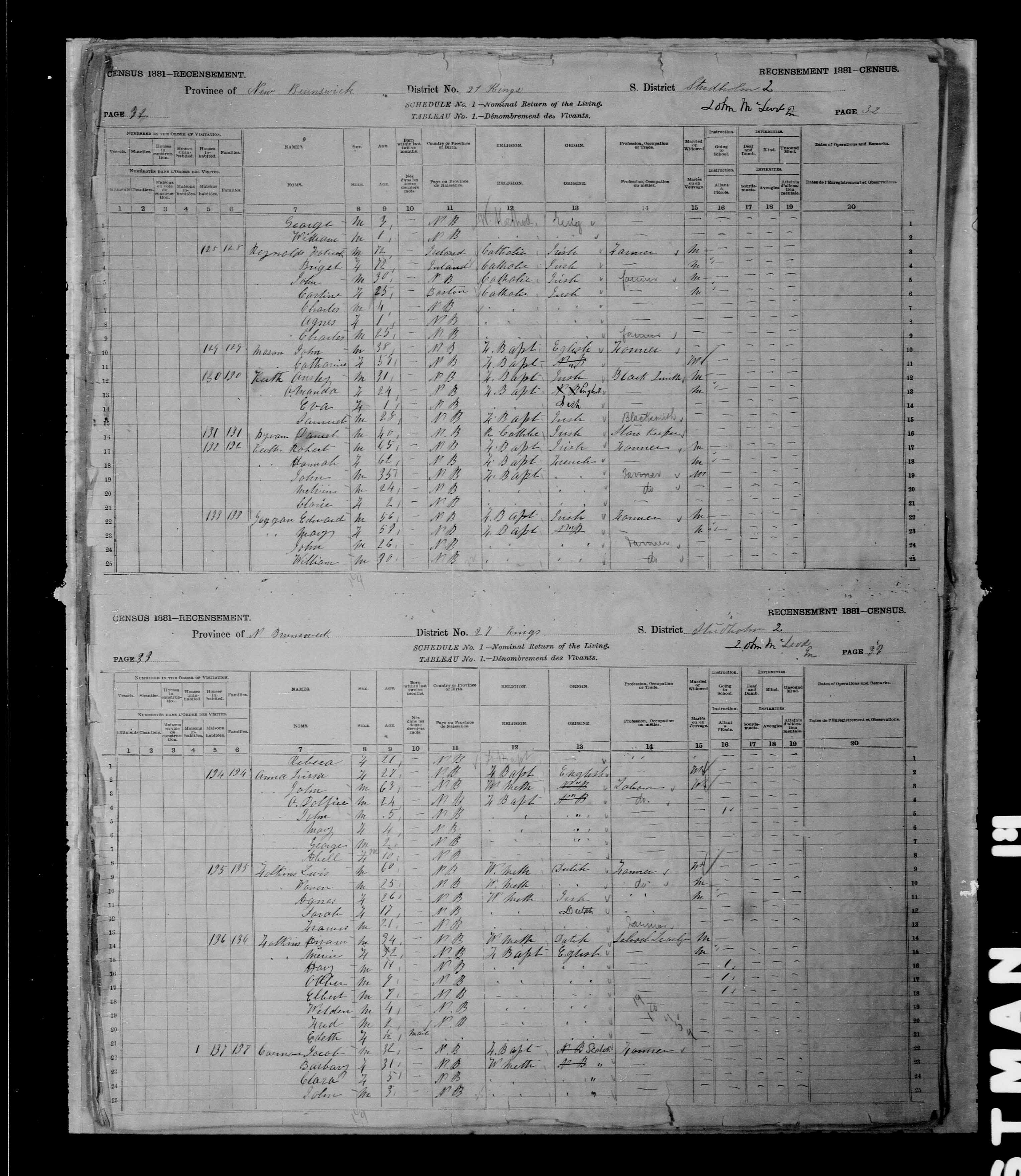 Digitized page of Census of Canada, 1881 for e008131272