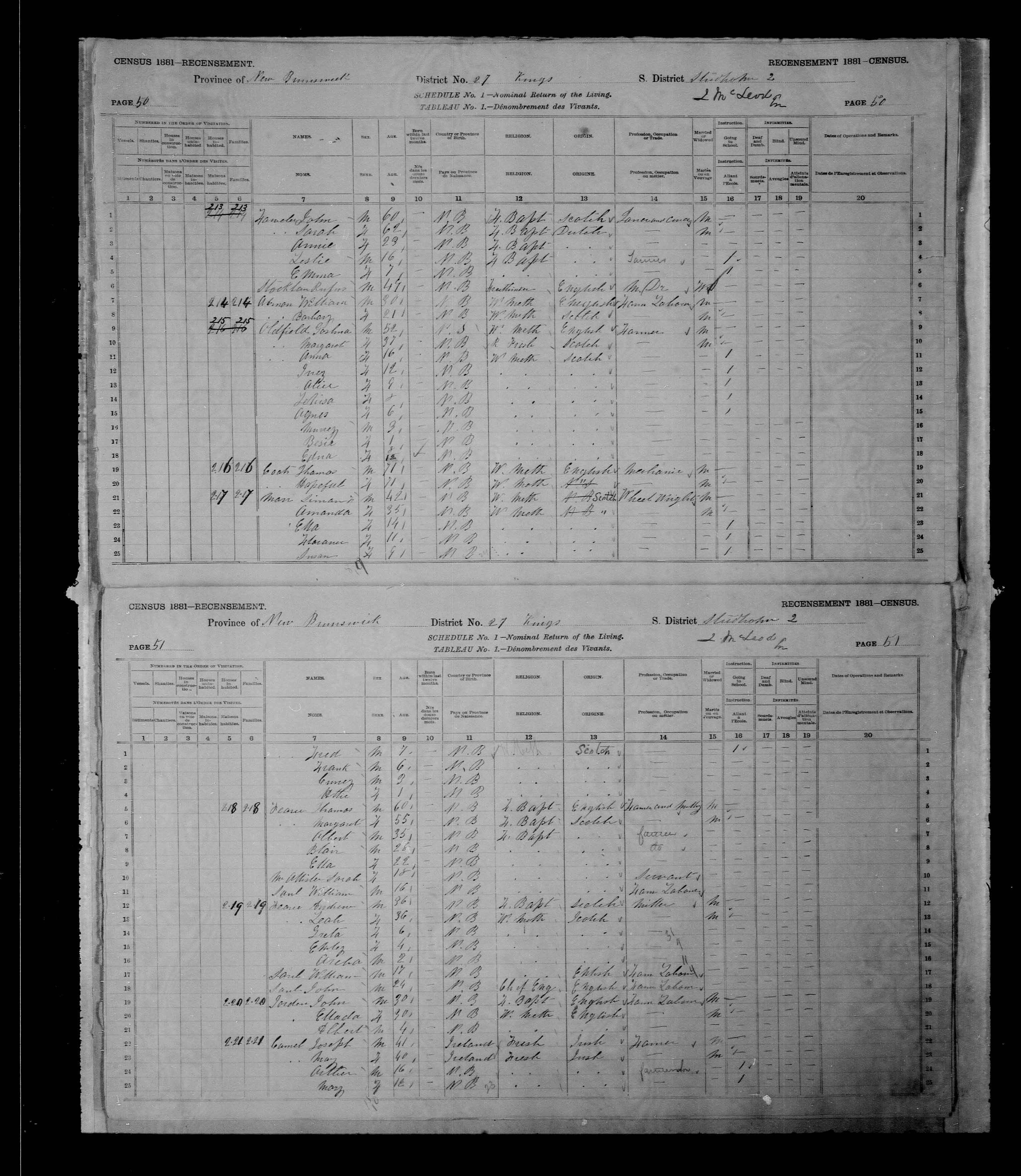 Digitized page of Census of Canada, 1881 for e008131282