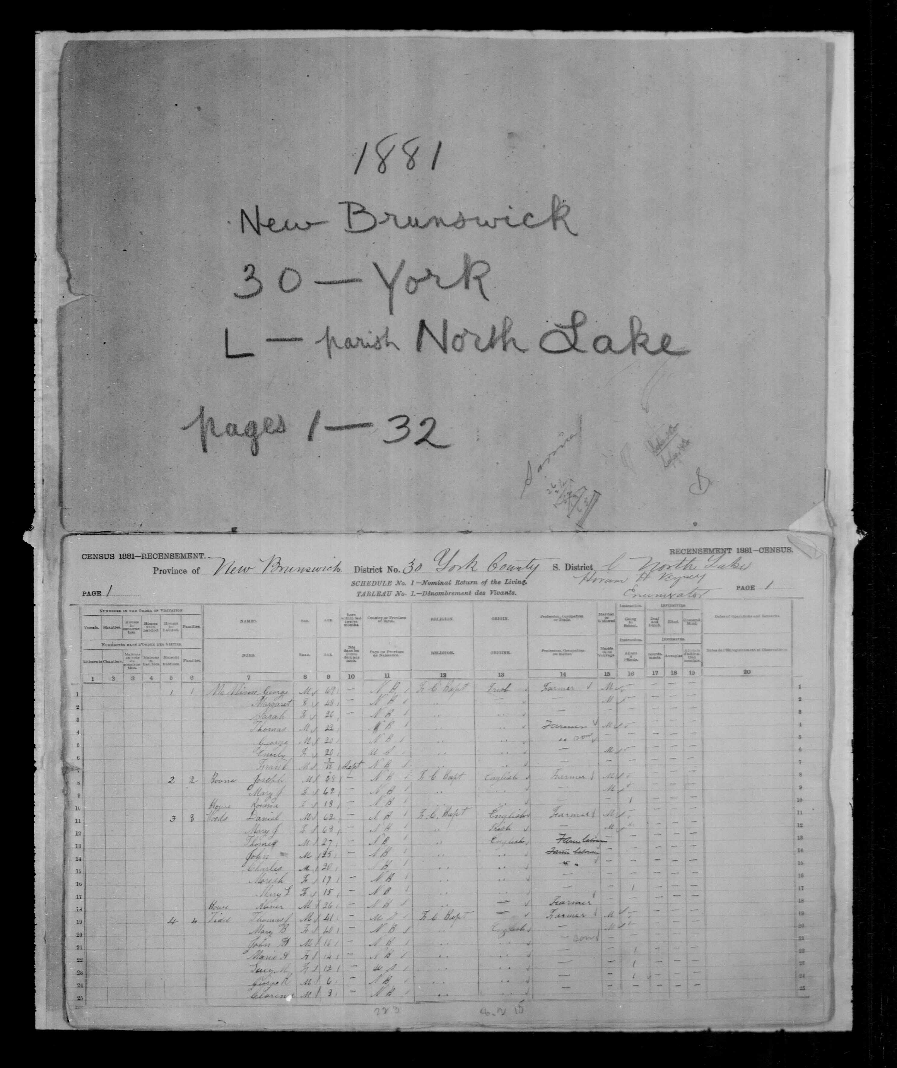 Digitized page of Census of Canada, 1881 for e008132233