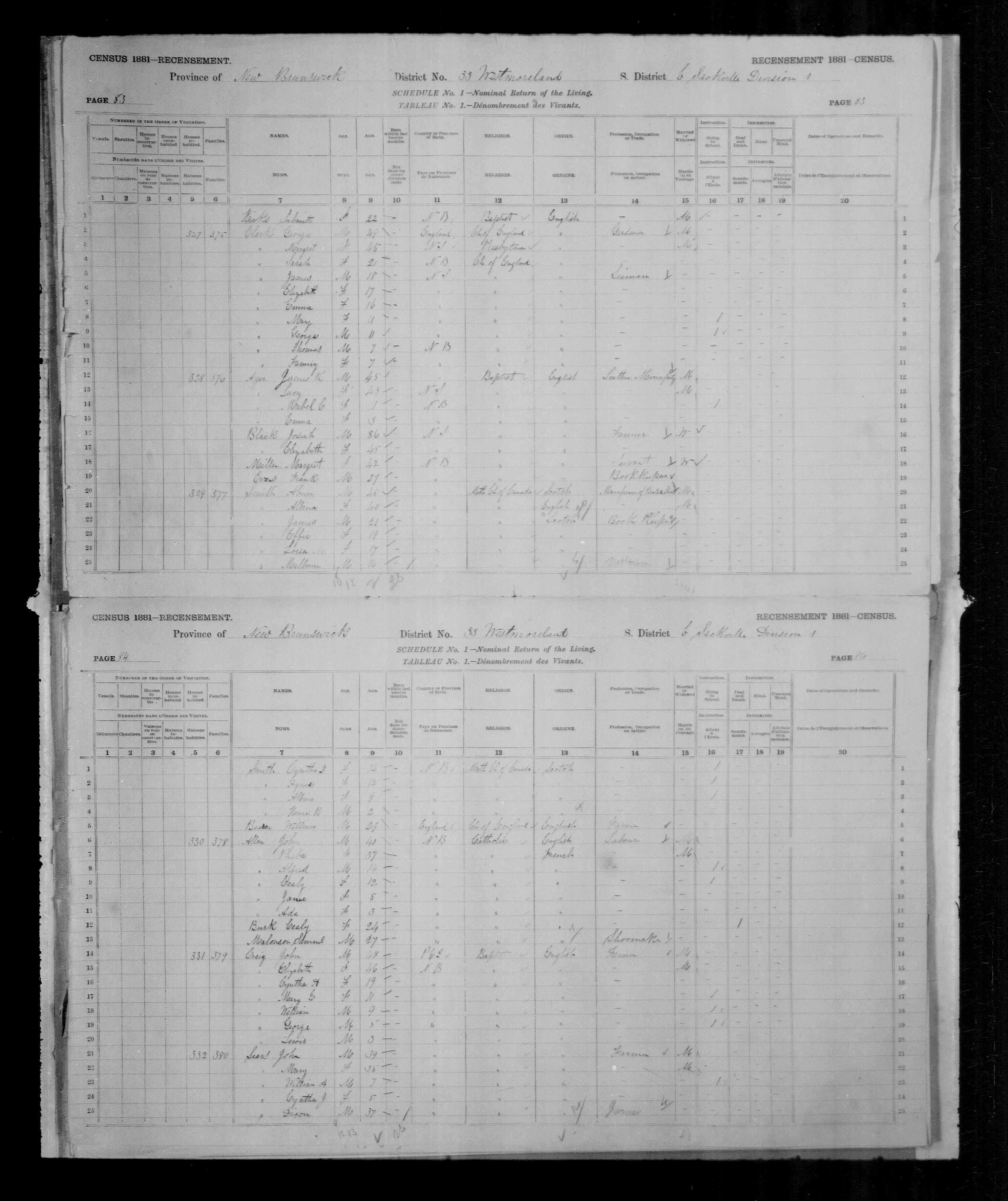 Digitized page of Census of Canada, 1881, Page number 84, for John ALLEN