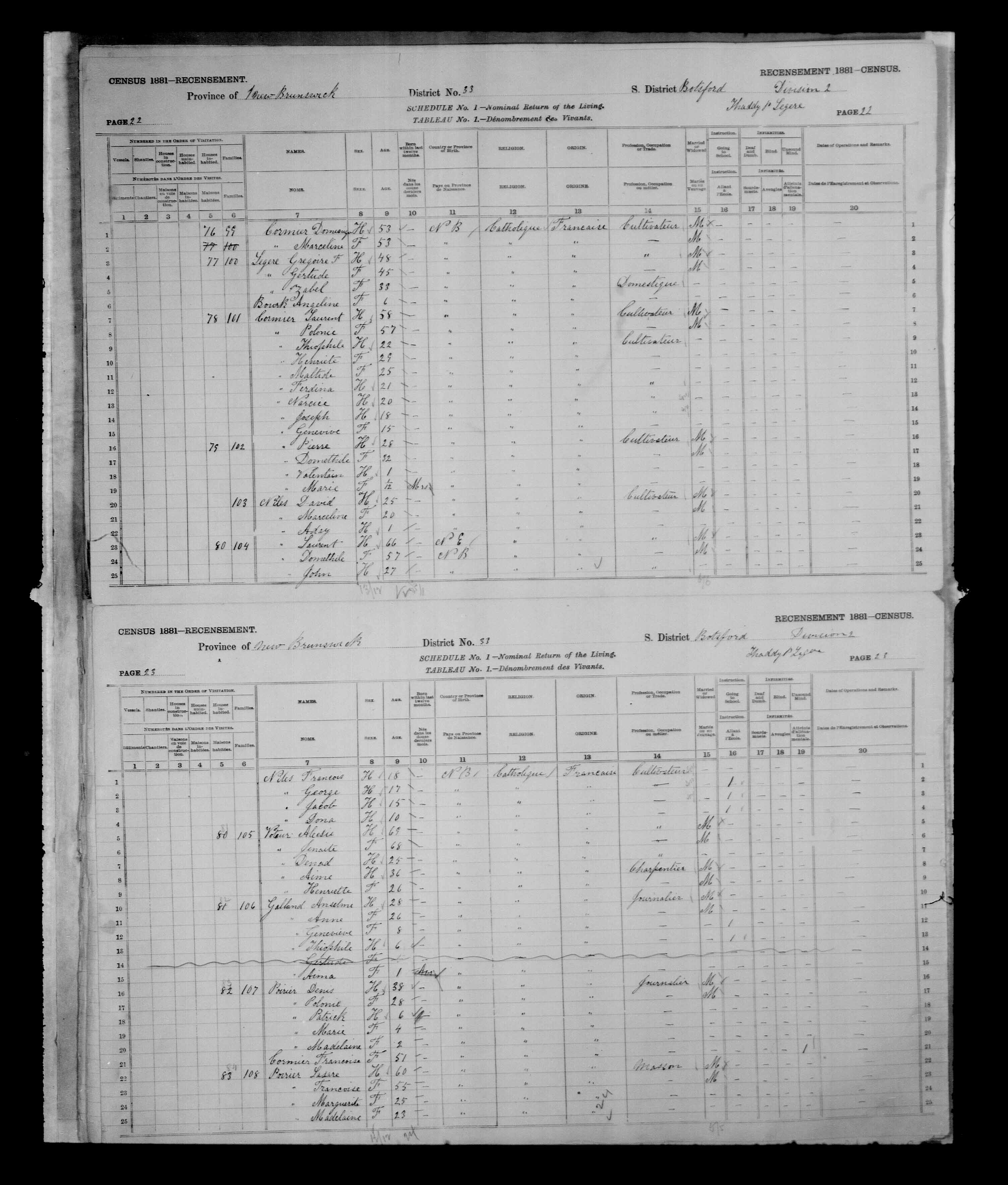Digitized page of Census of Canada, 1881, Page number 22, for Pierre CORMIER