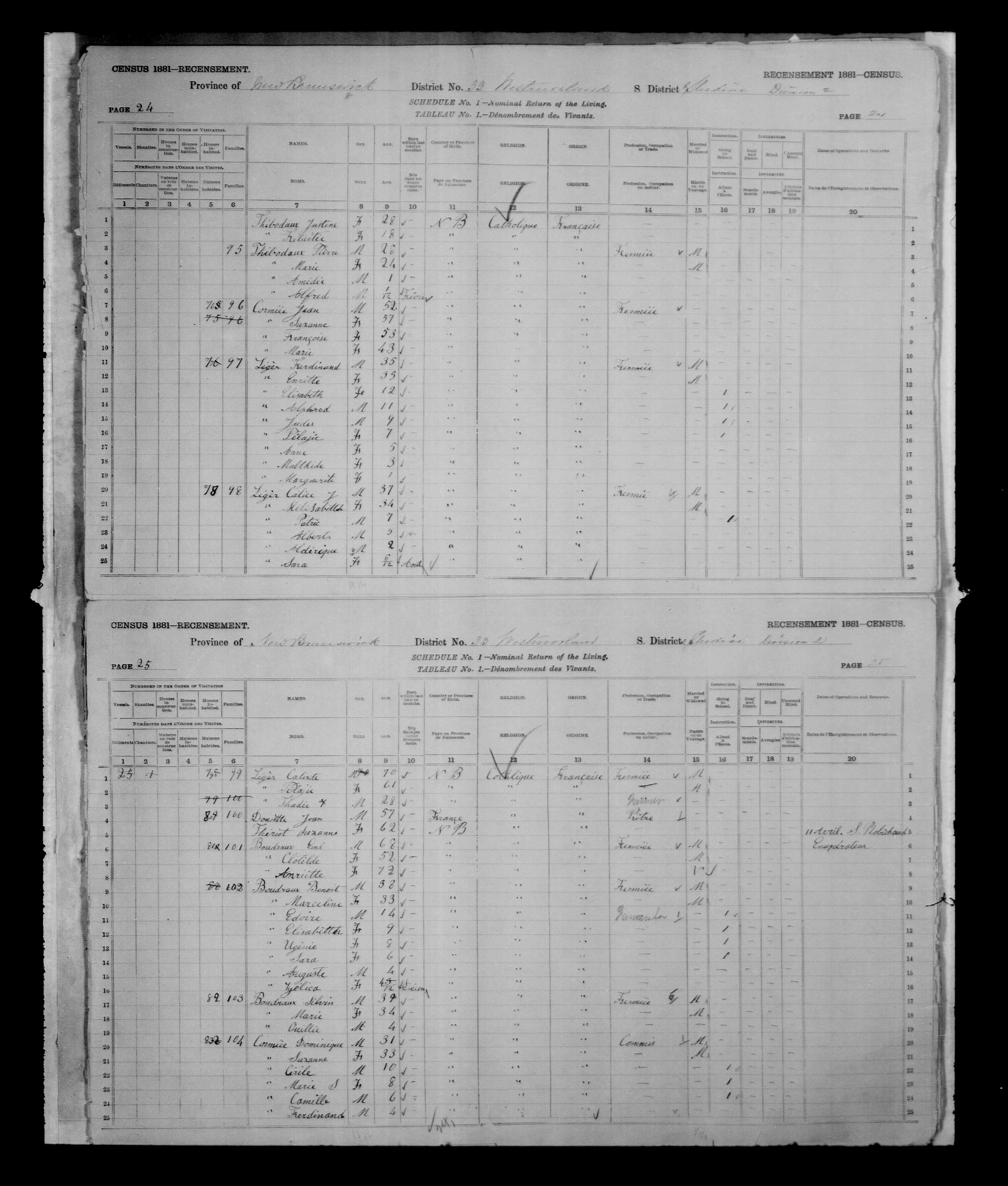 Digitized page of Census of Canada, 1881, Page number 24, for Calice J. LEGER