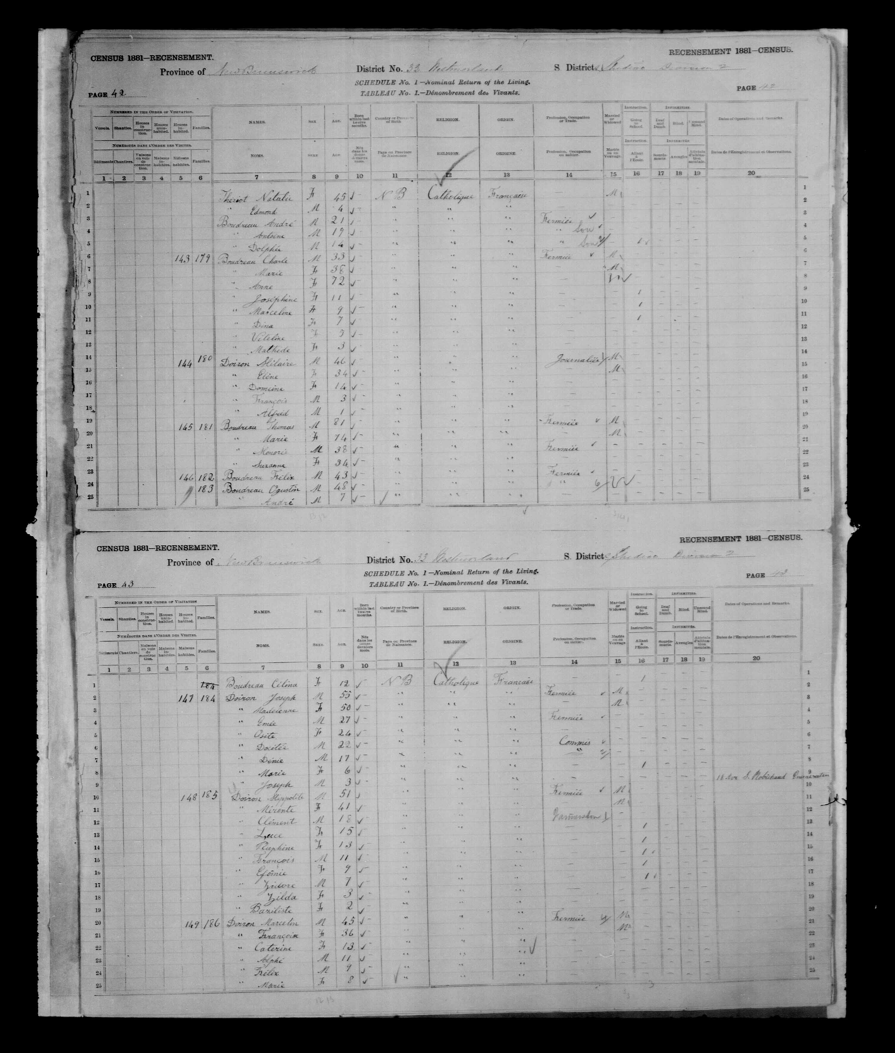 Digitized page of Census of Canada, 1881, Page number 42, for Thoms BOUDREAU