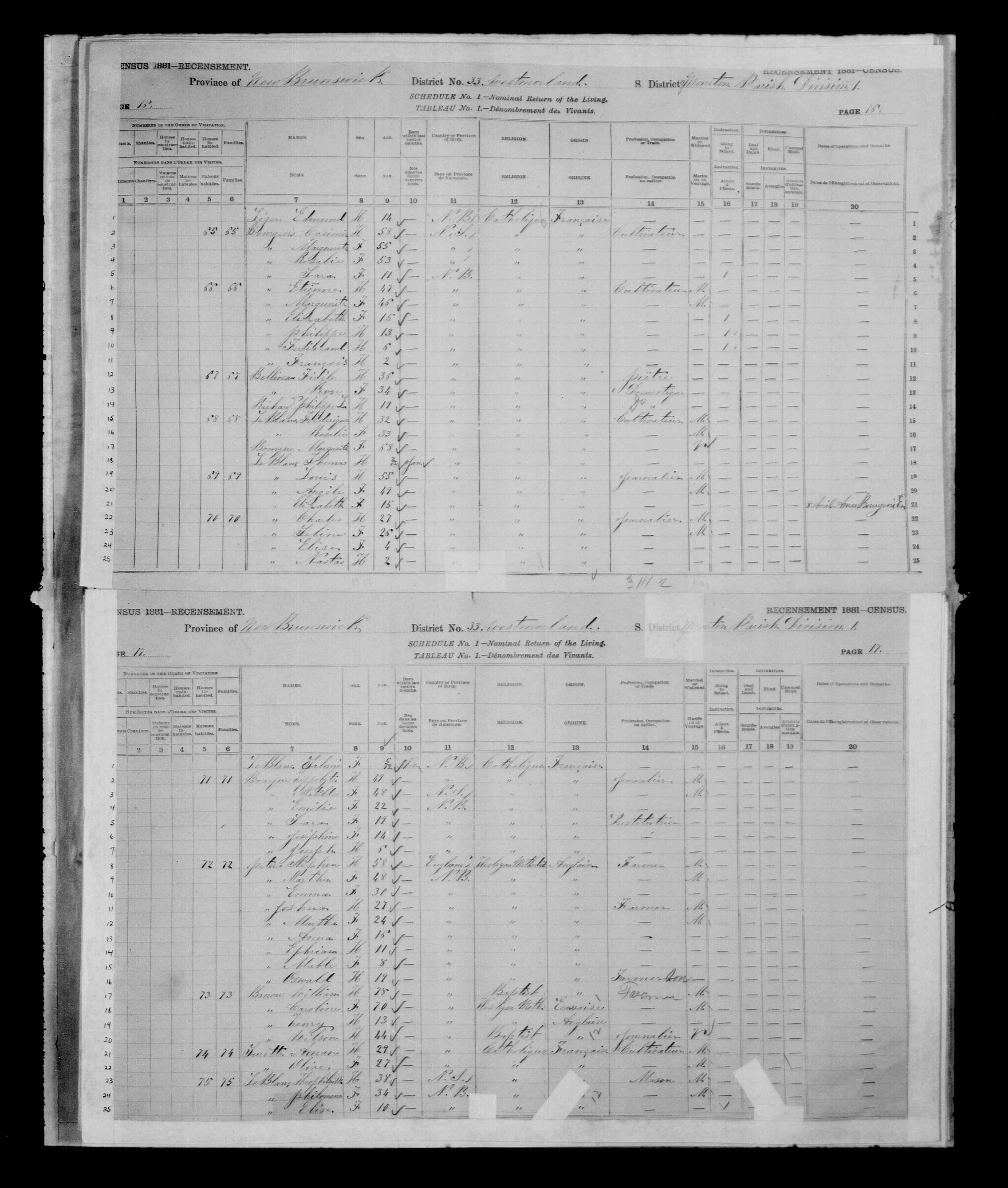 Digitized page of Census of Canada, 1881 for e008134150
