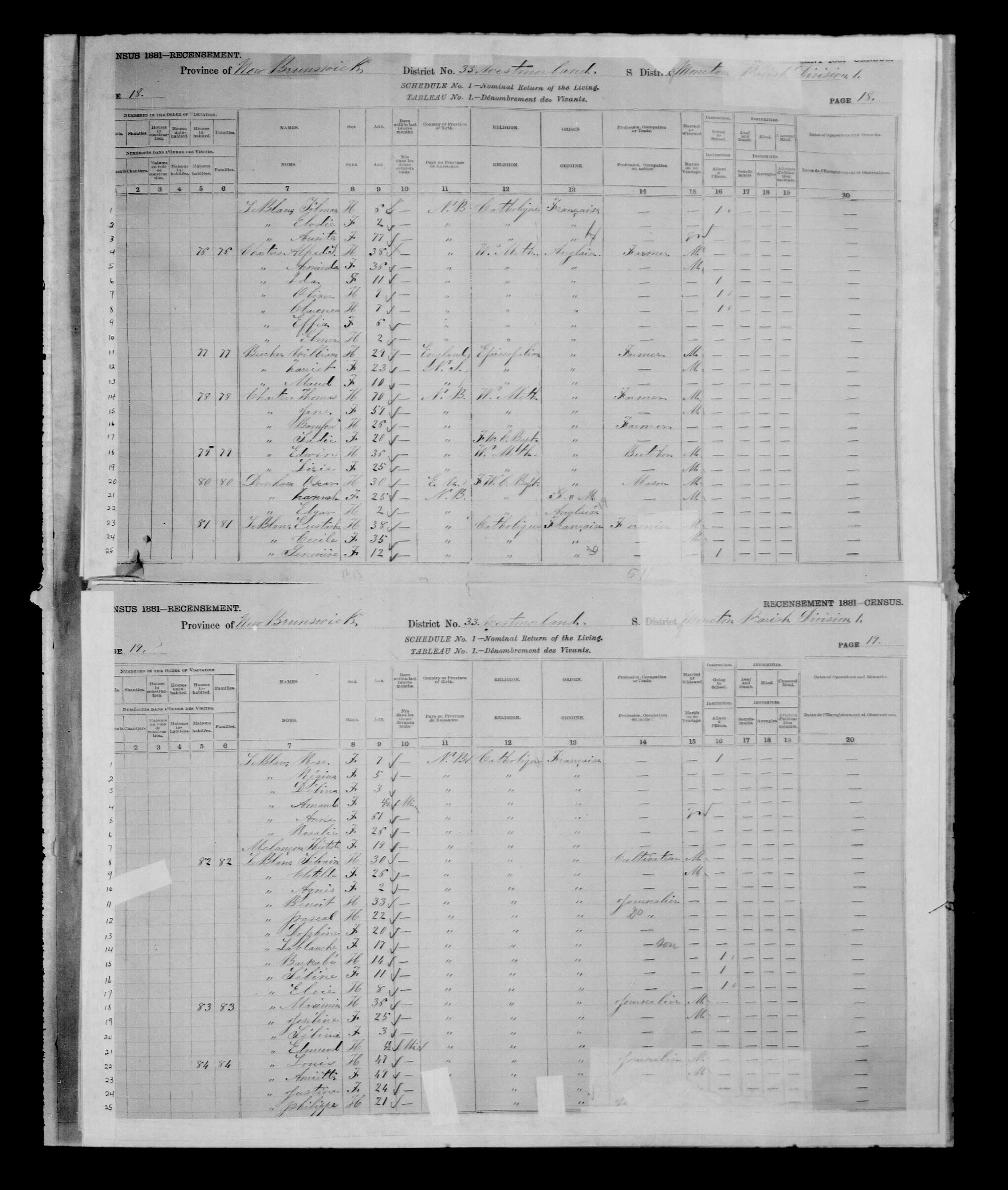 Digitized page of Census of Canada, 1881 for e008134151