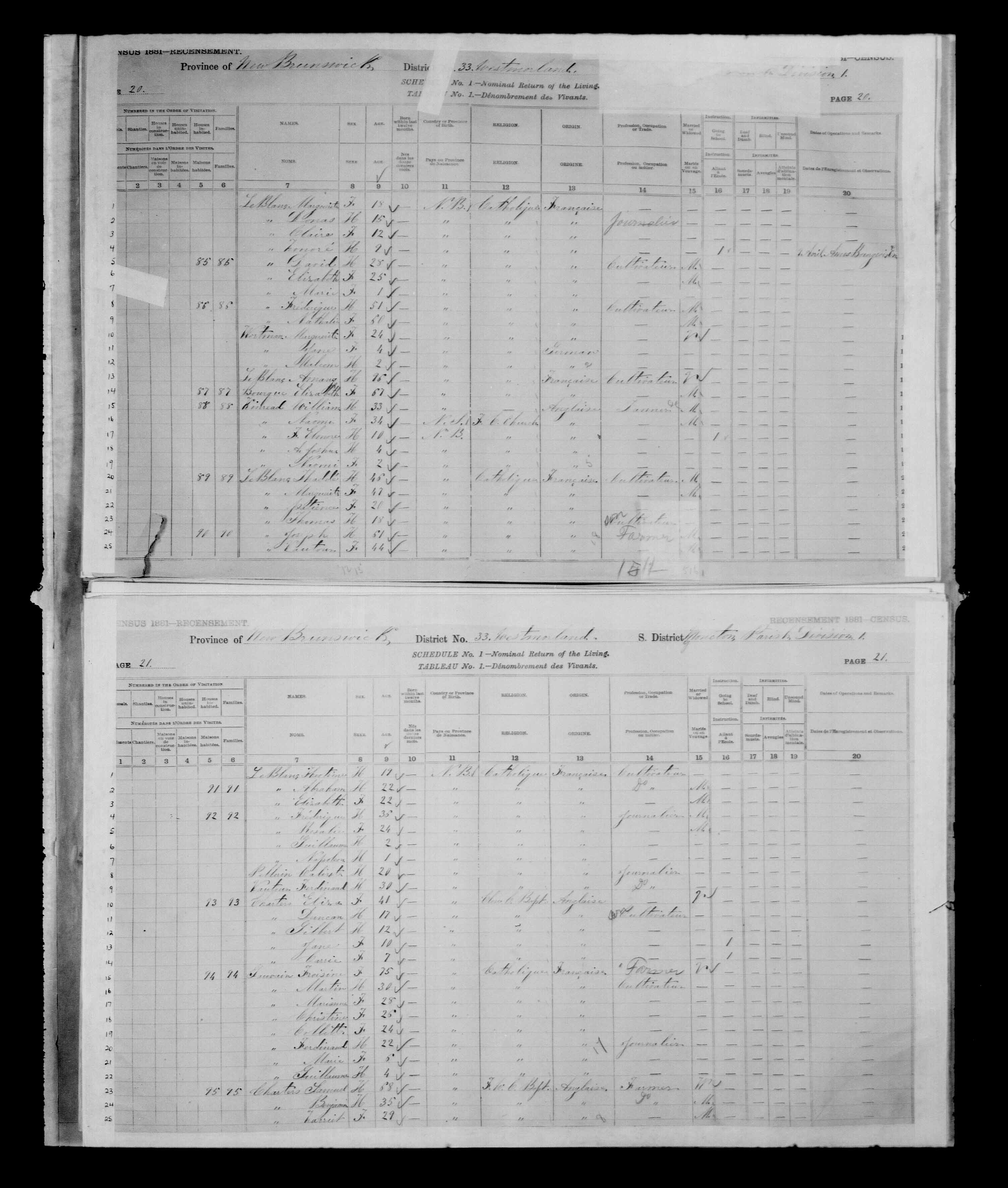 Digitized page of Census of Canada, 1881 for e008134152