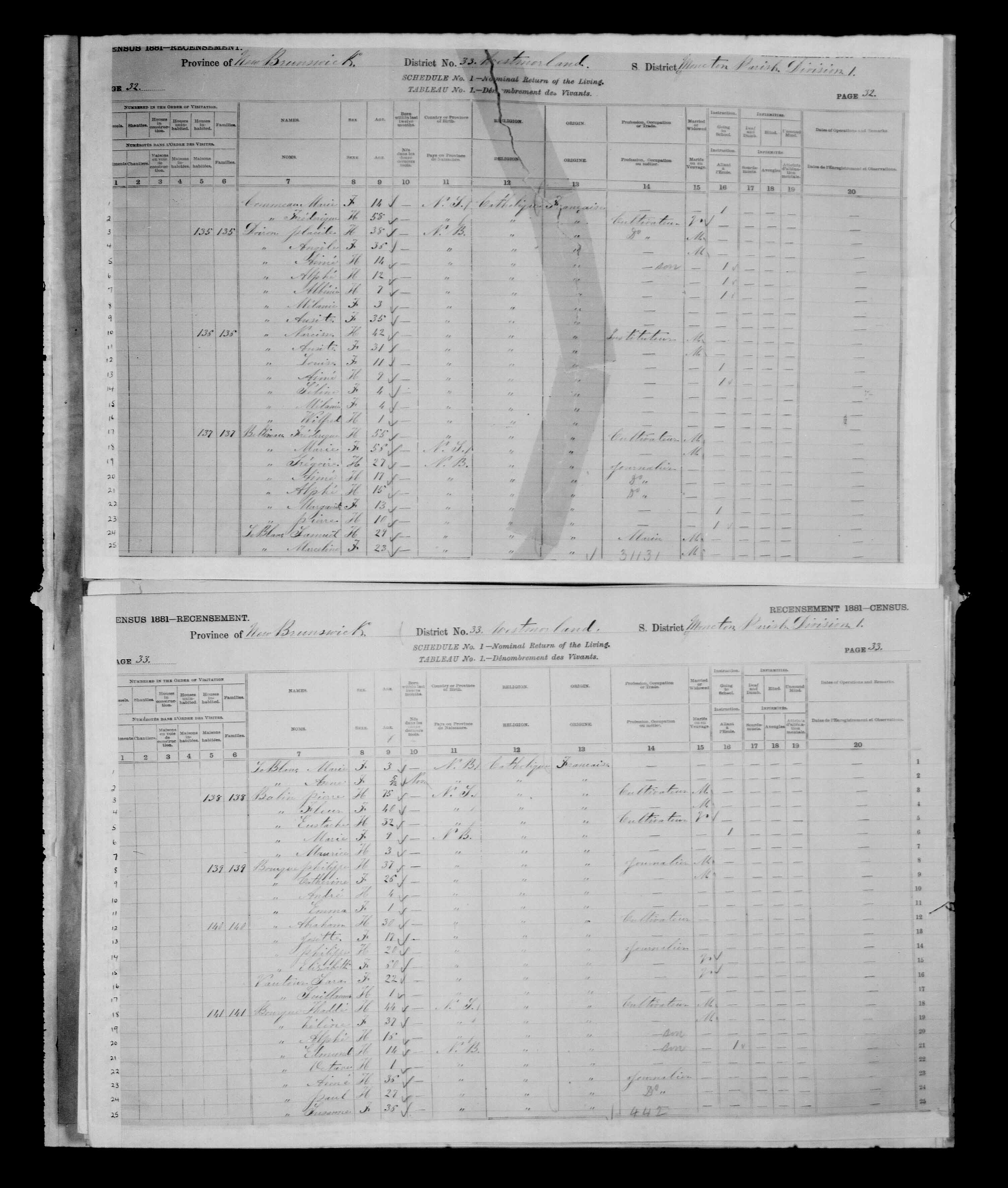 Digitized page of Census of Canada, 1881 for e008134158