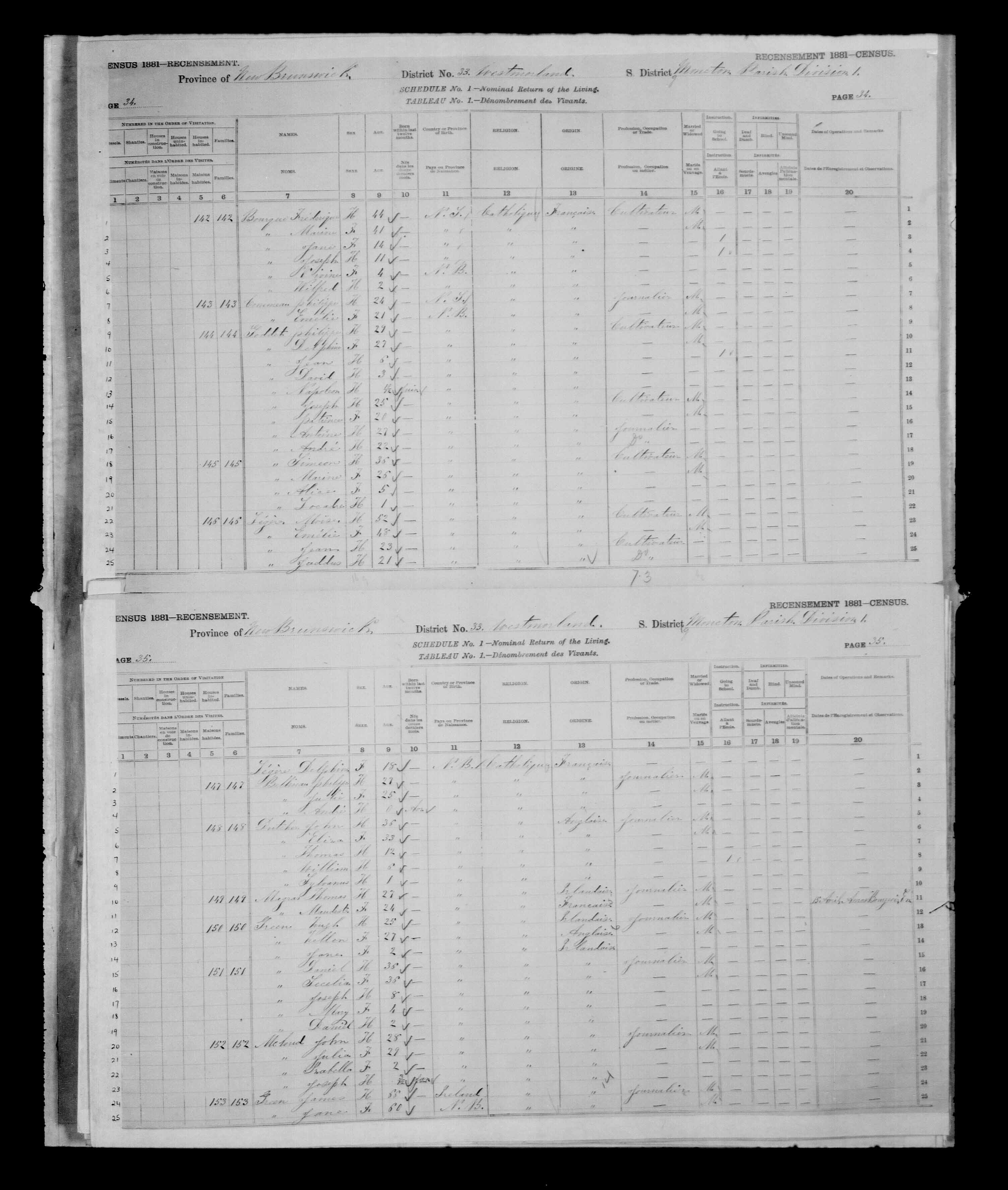 Digitized page of Census of Canada, 1881 for e008134159