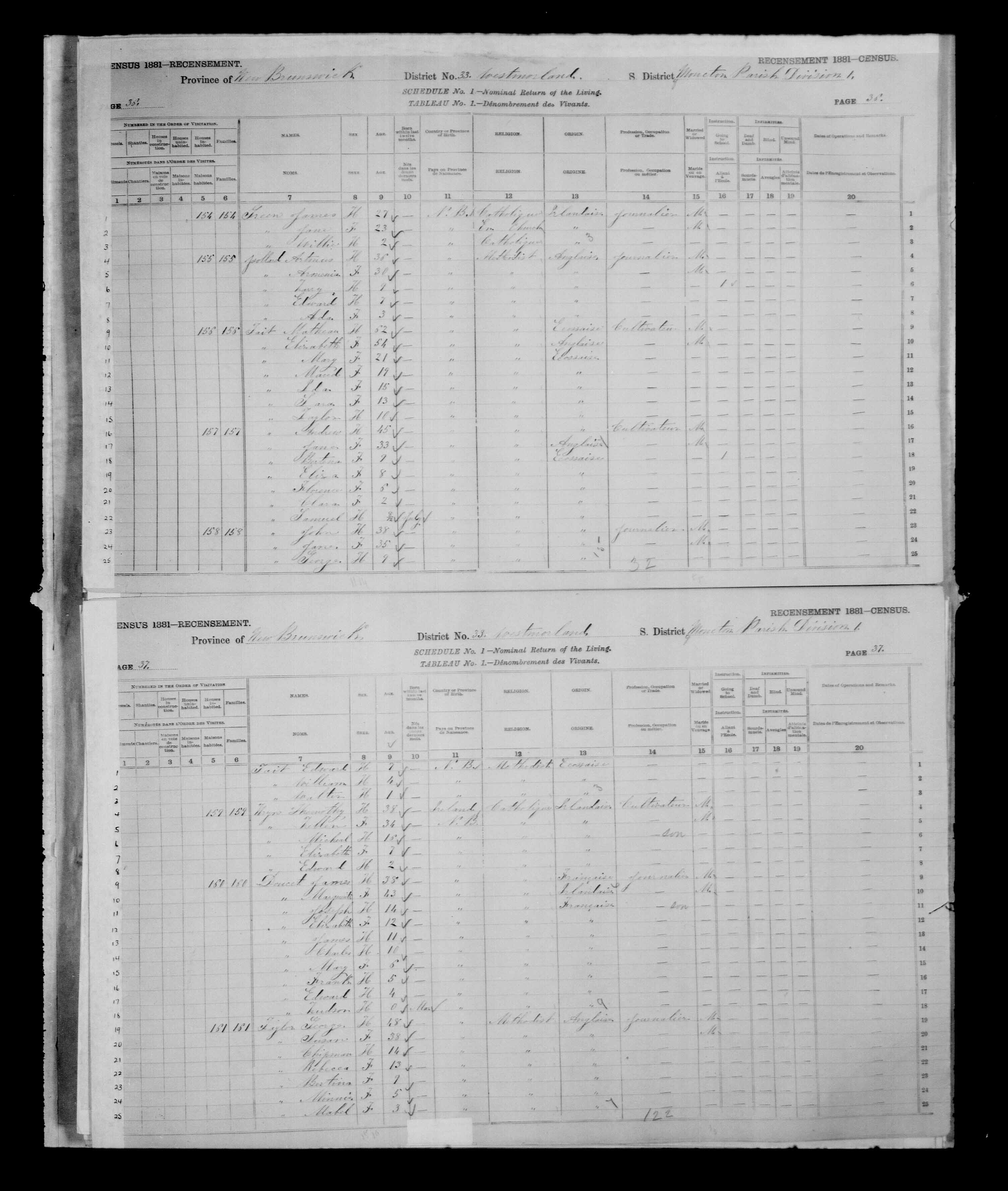 Digitized page of Census of Canada, 1881 for e008134160