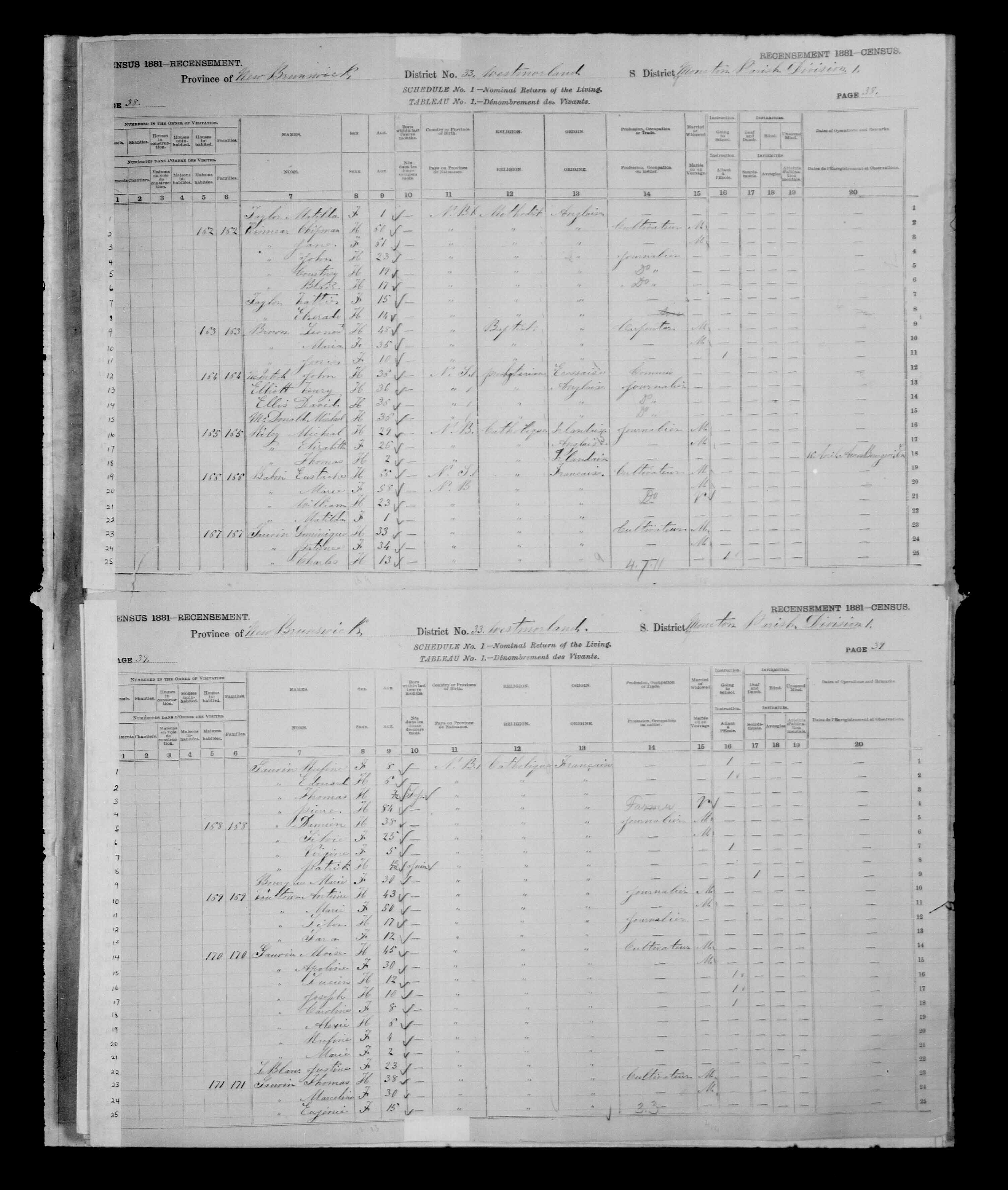 Digitized page of Census of Canada, 1881 for e008134161
