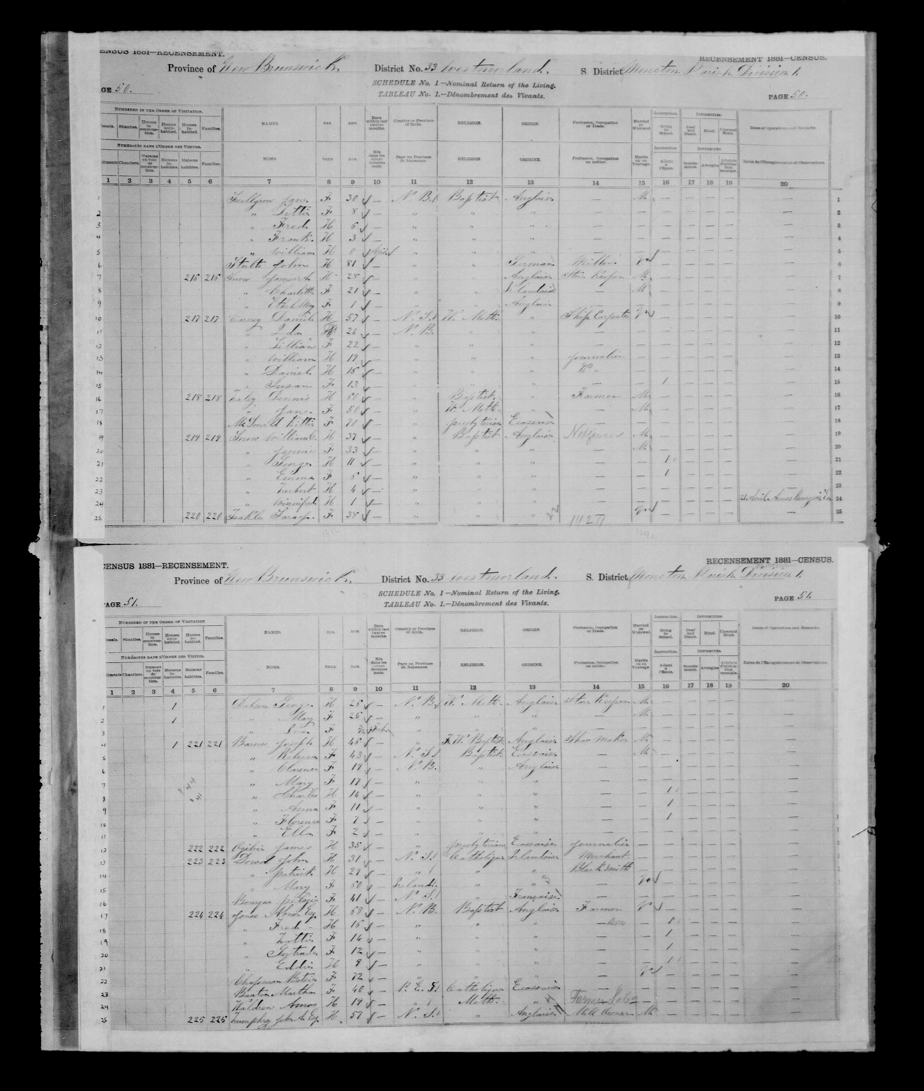 Digitized page of Census of Canada, 1881 for e008134167
