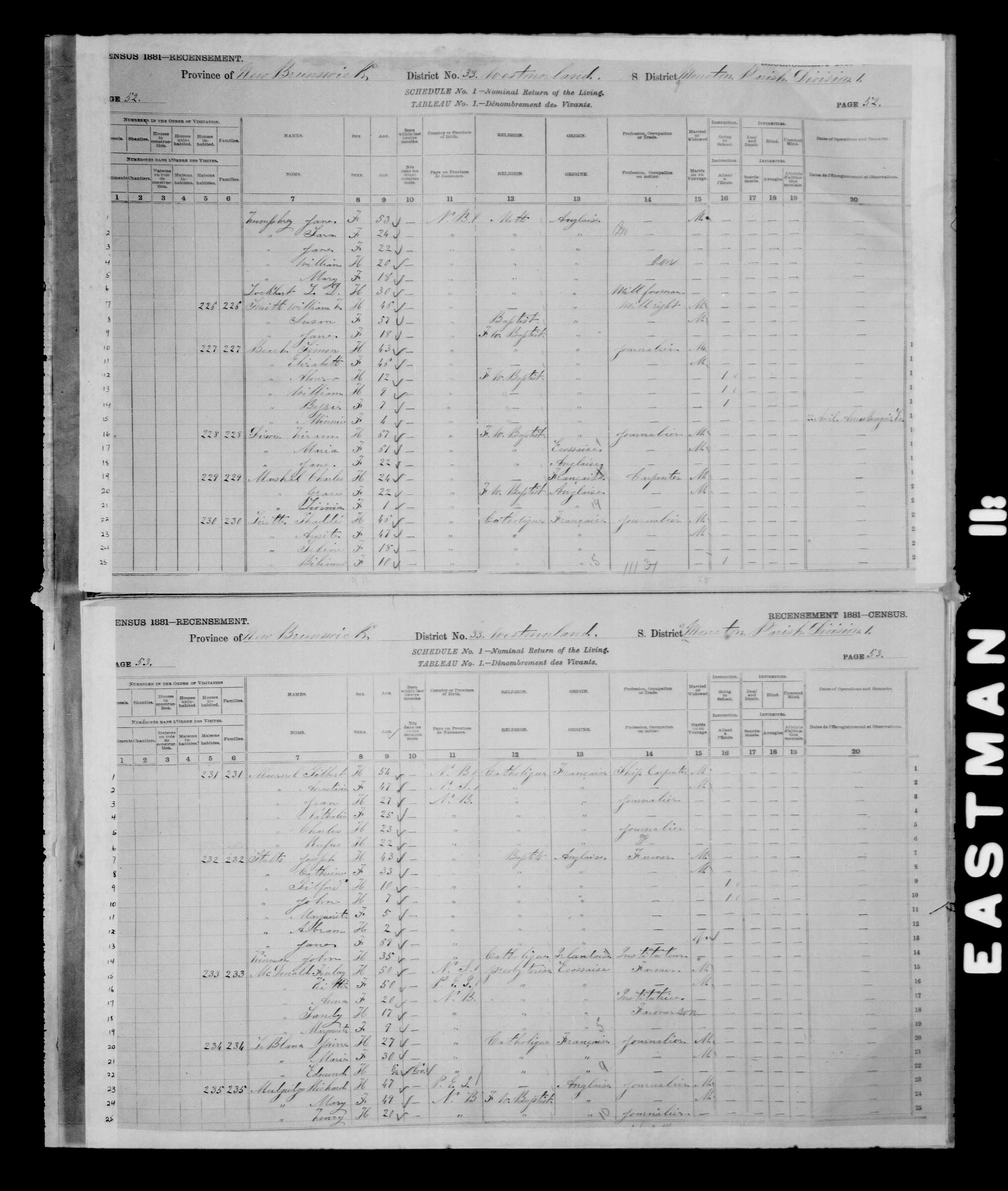 Digitized page of Census of Canada, 1881 for e008134168
