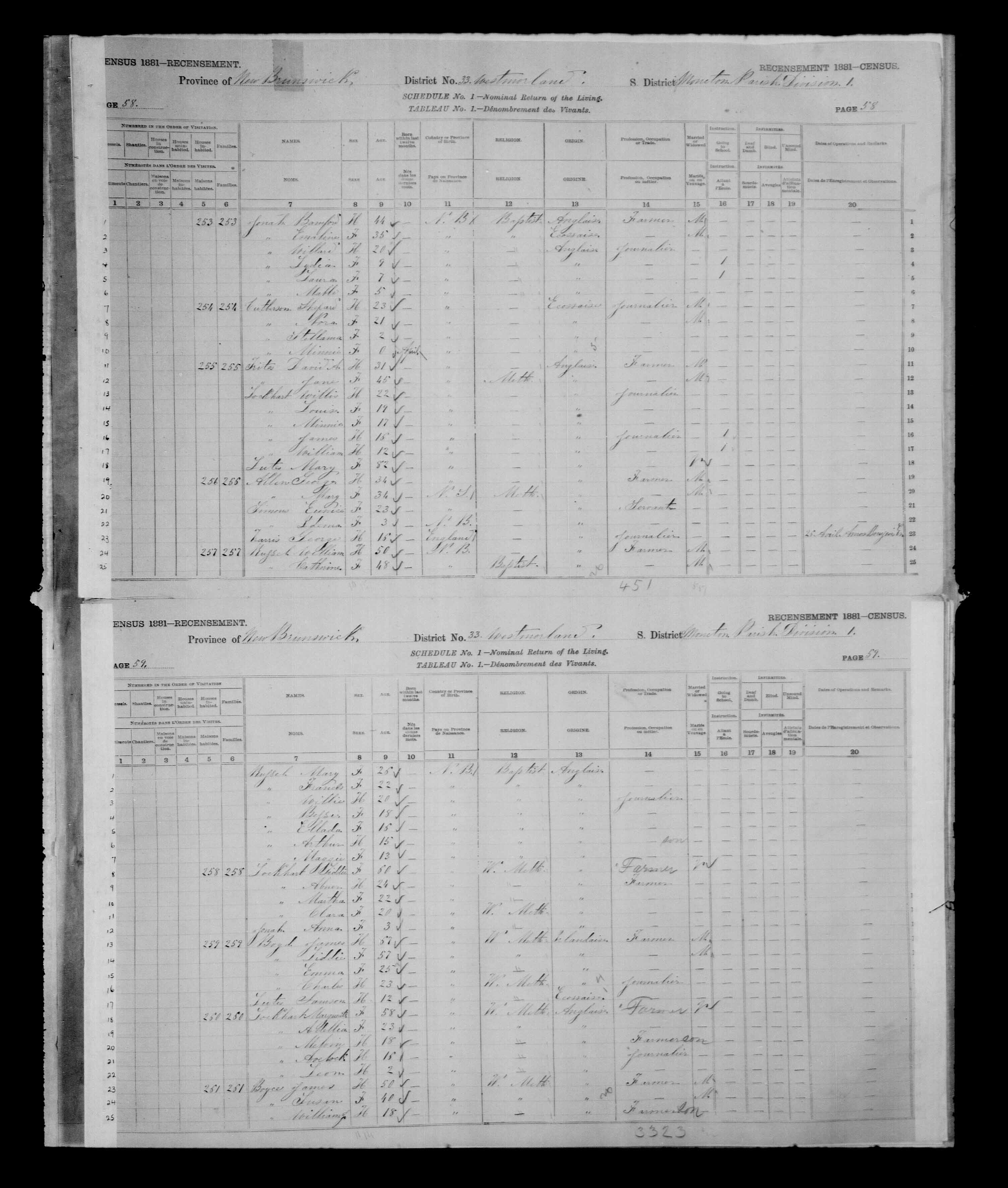 Digitized page of Census of Canada, 1881 for e008134171