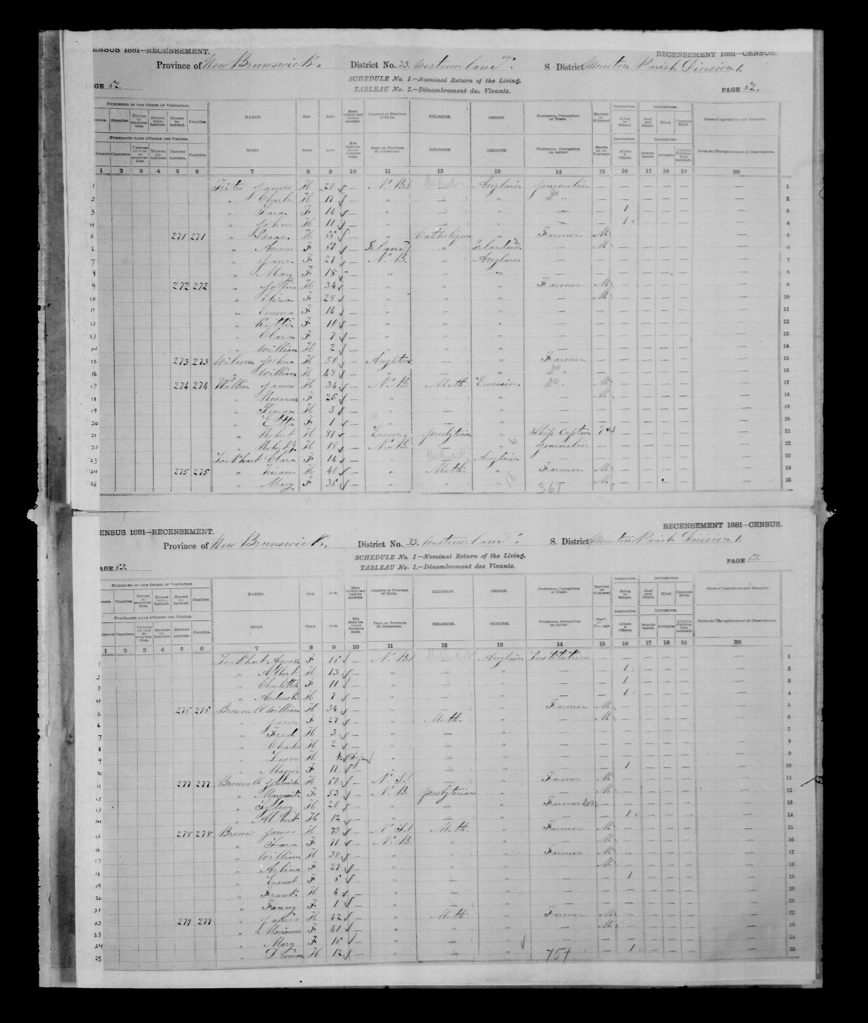Digitized page of Census of Canada, 1881 for e008134173