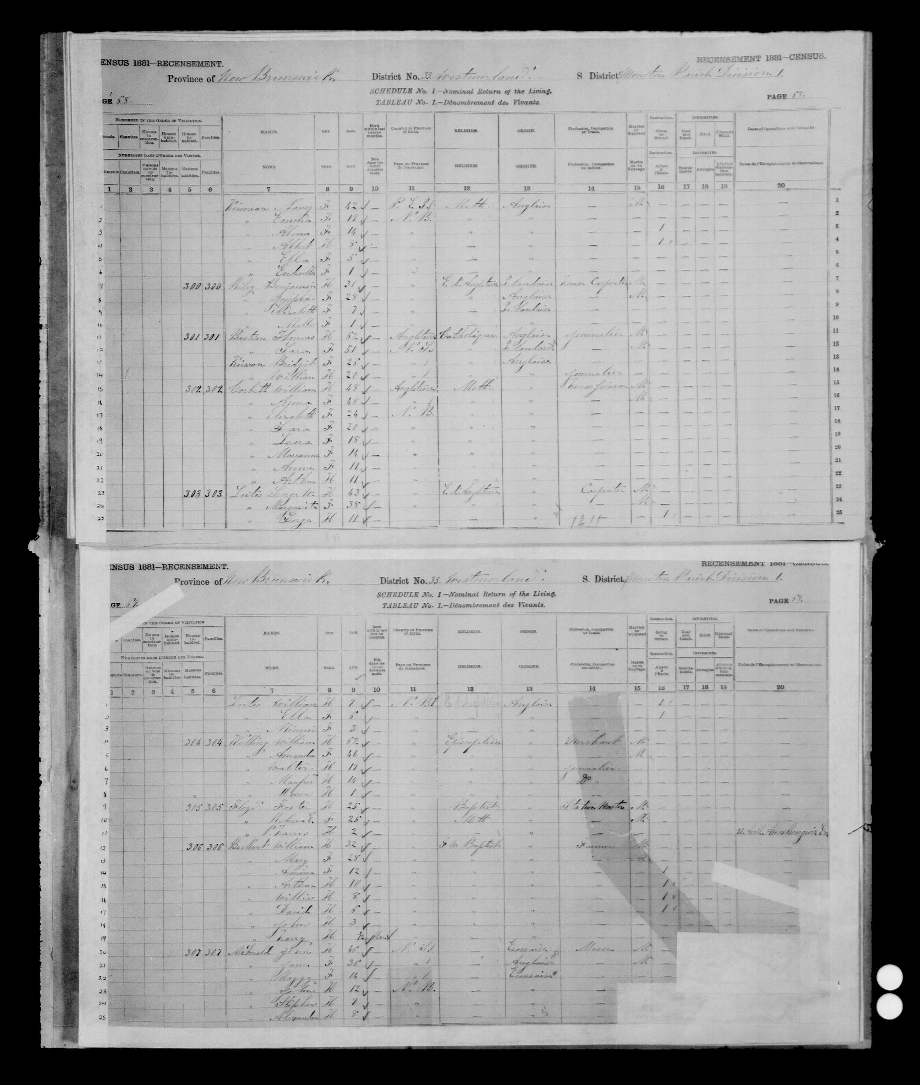 Digitized page of Census of Canada, 1881 for e008134176