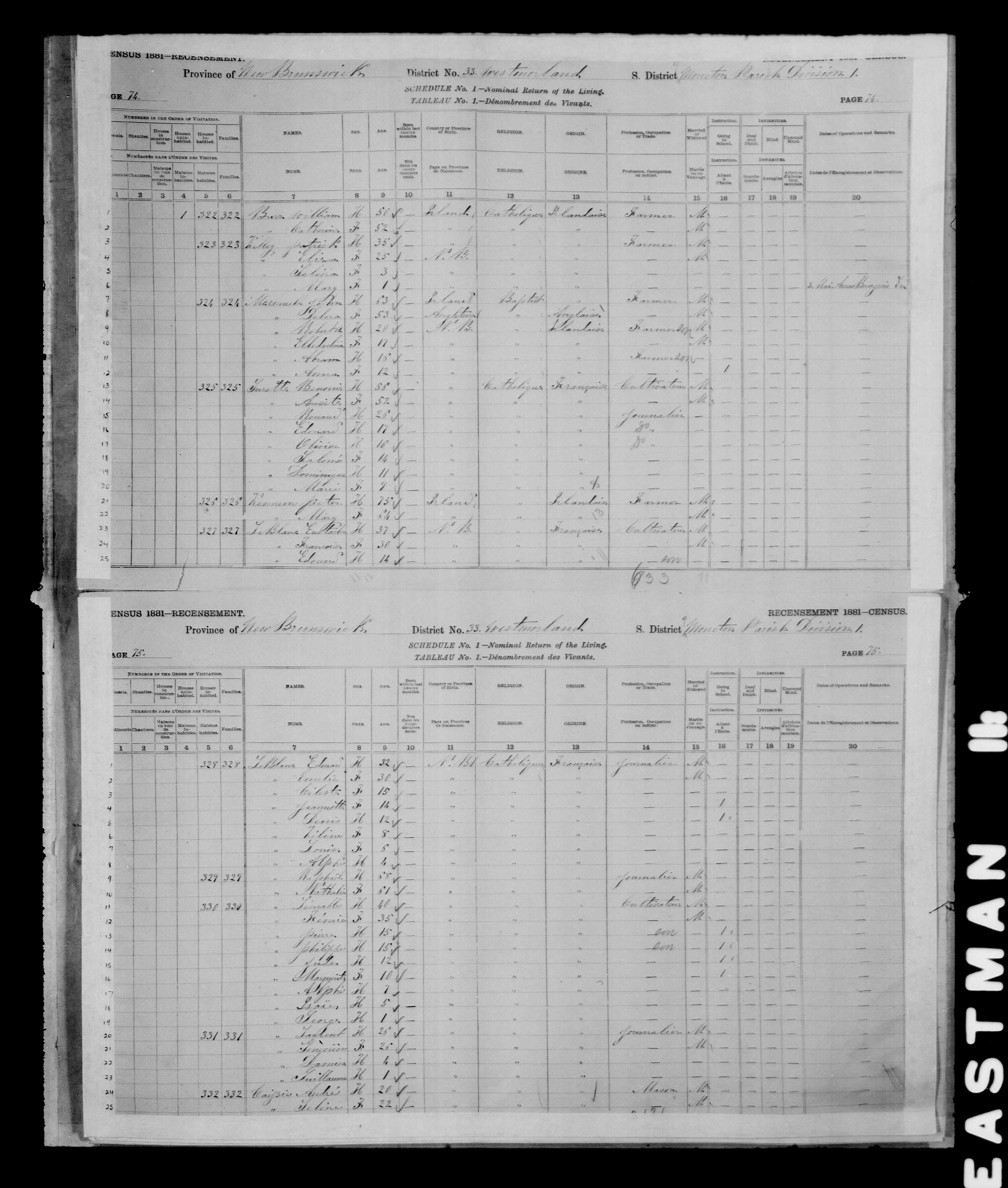 Digitized page of Census of Canada, 1881 for e008134179