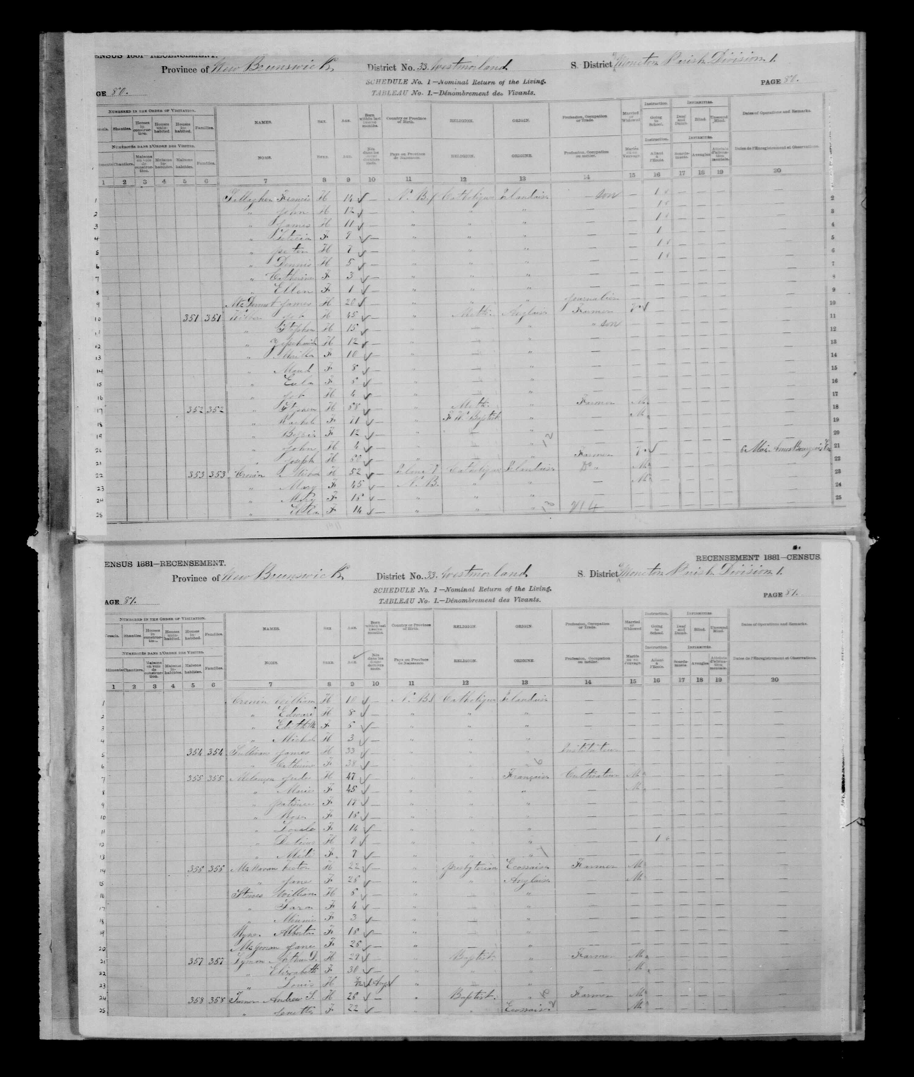 Digitized page of Census of Canada, 1881 for e008134182