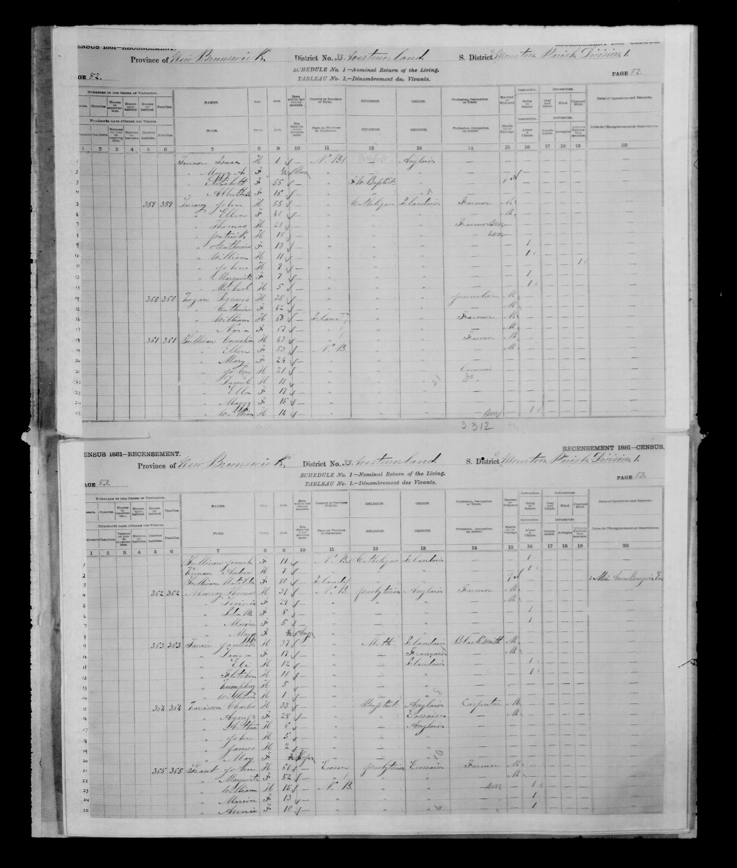 Digitized page of Census of Canada, 1881 for e008134183