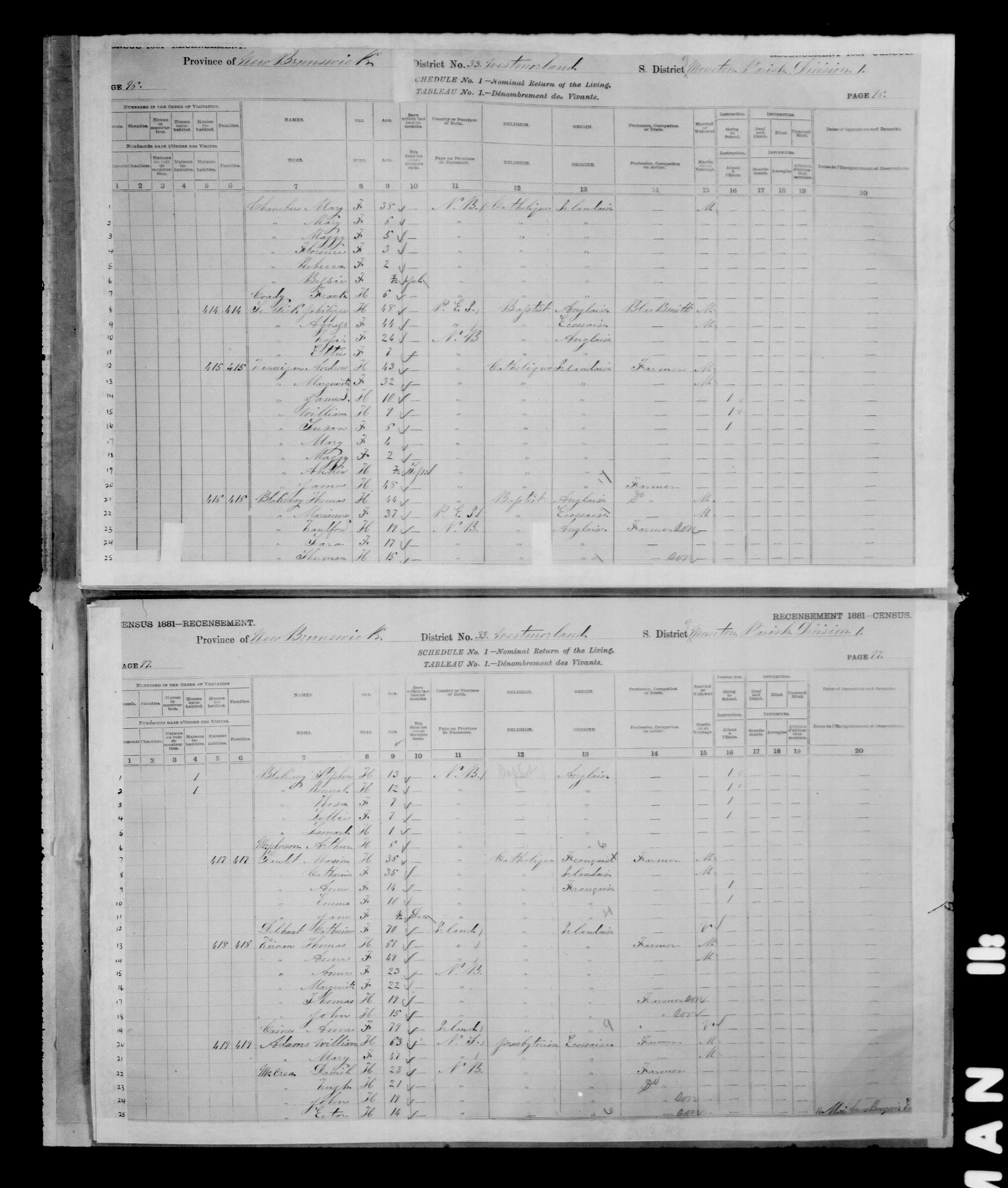 Digitized page of Census of Canada, 1881 for e008134190