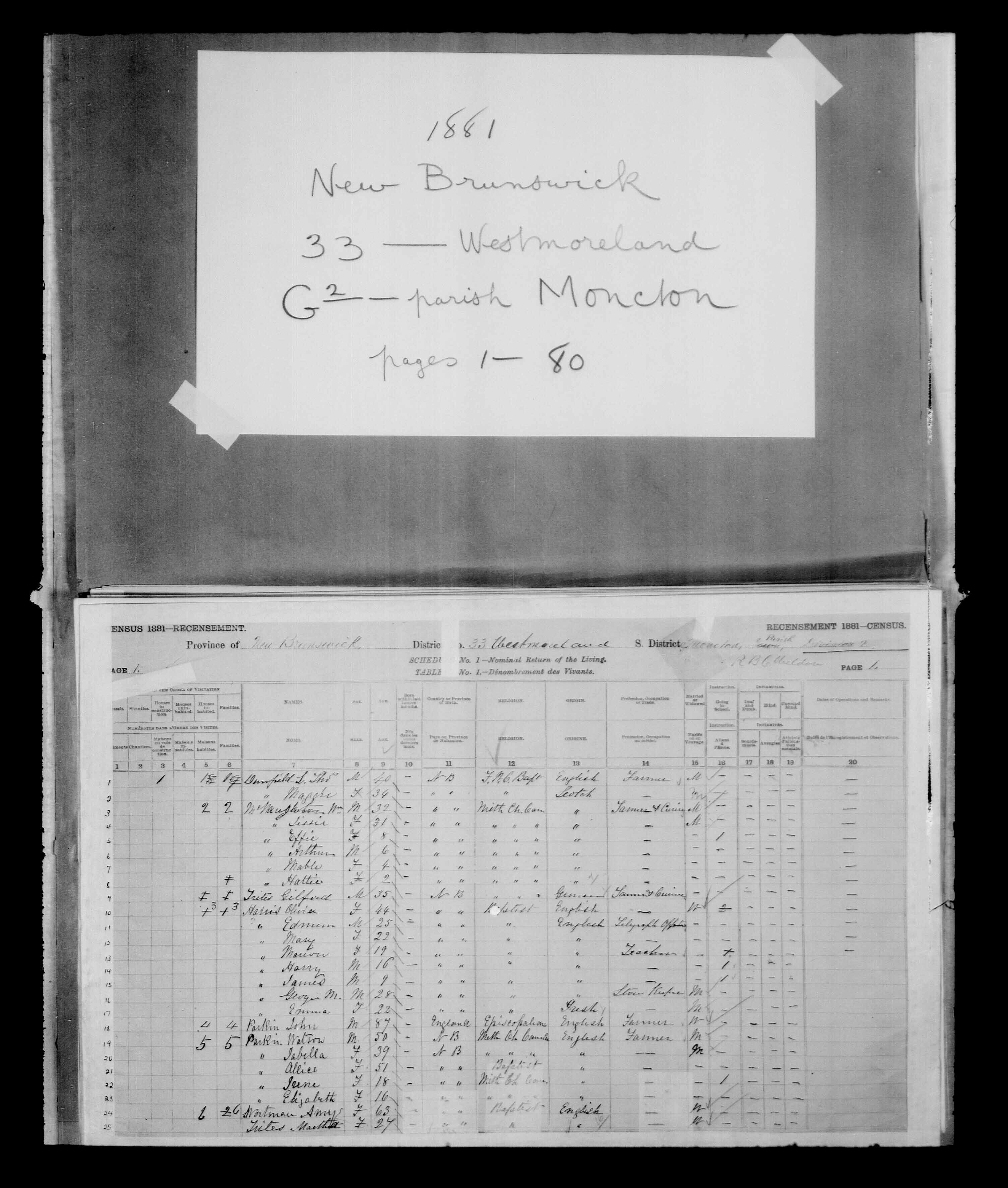 Digitized page of Census of Canada, 1881 for e008134195