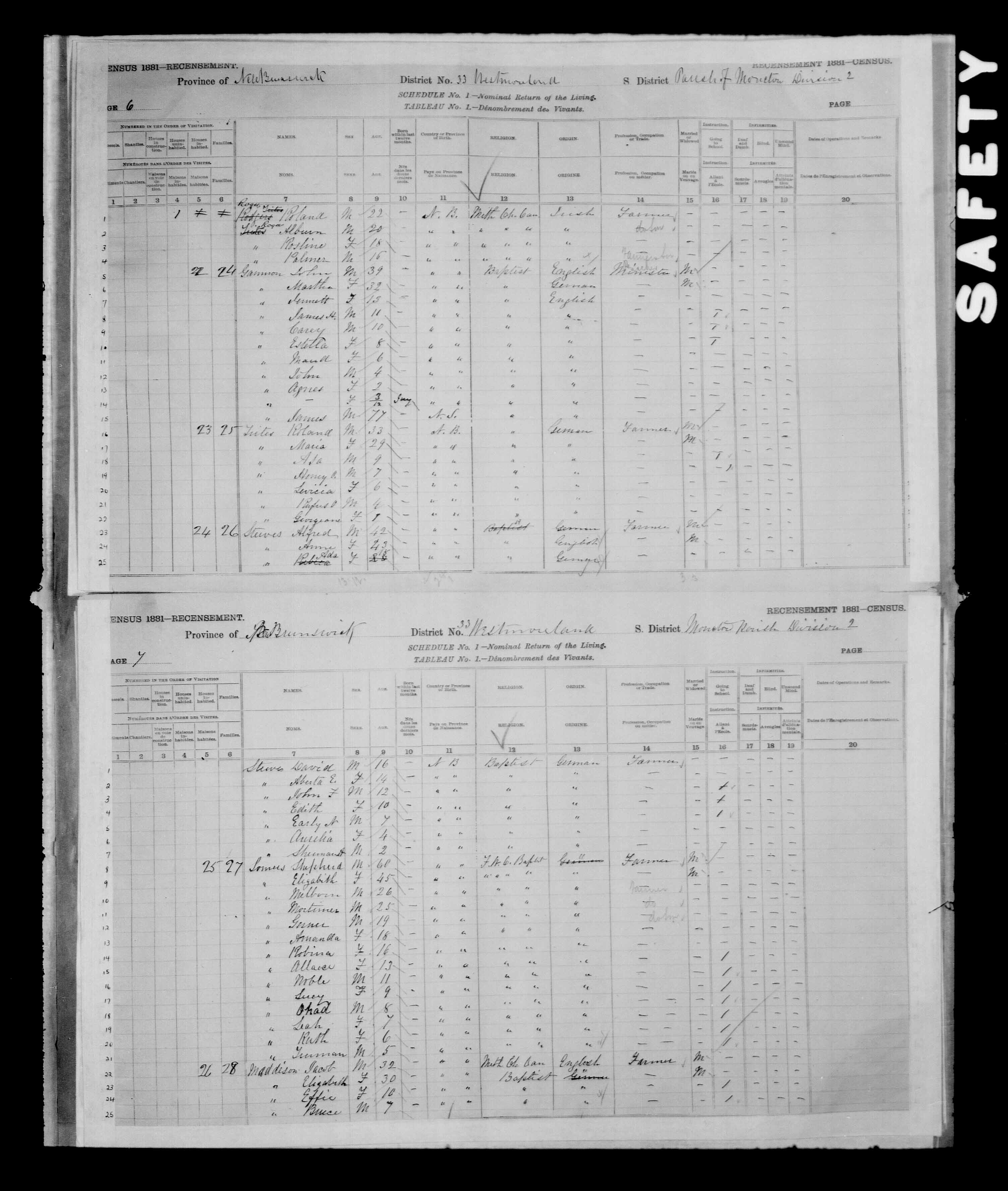 Digitized page of Census of Canada, 1881 for e008134198
