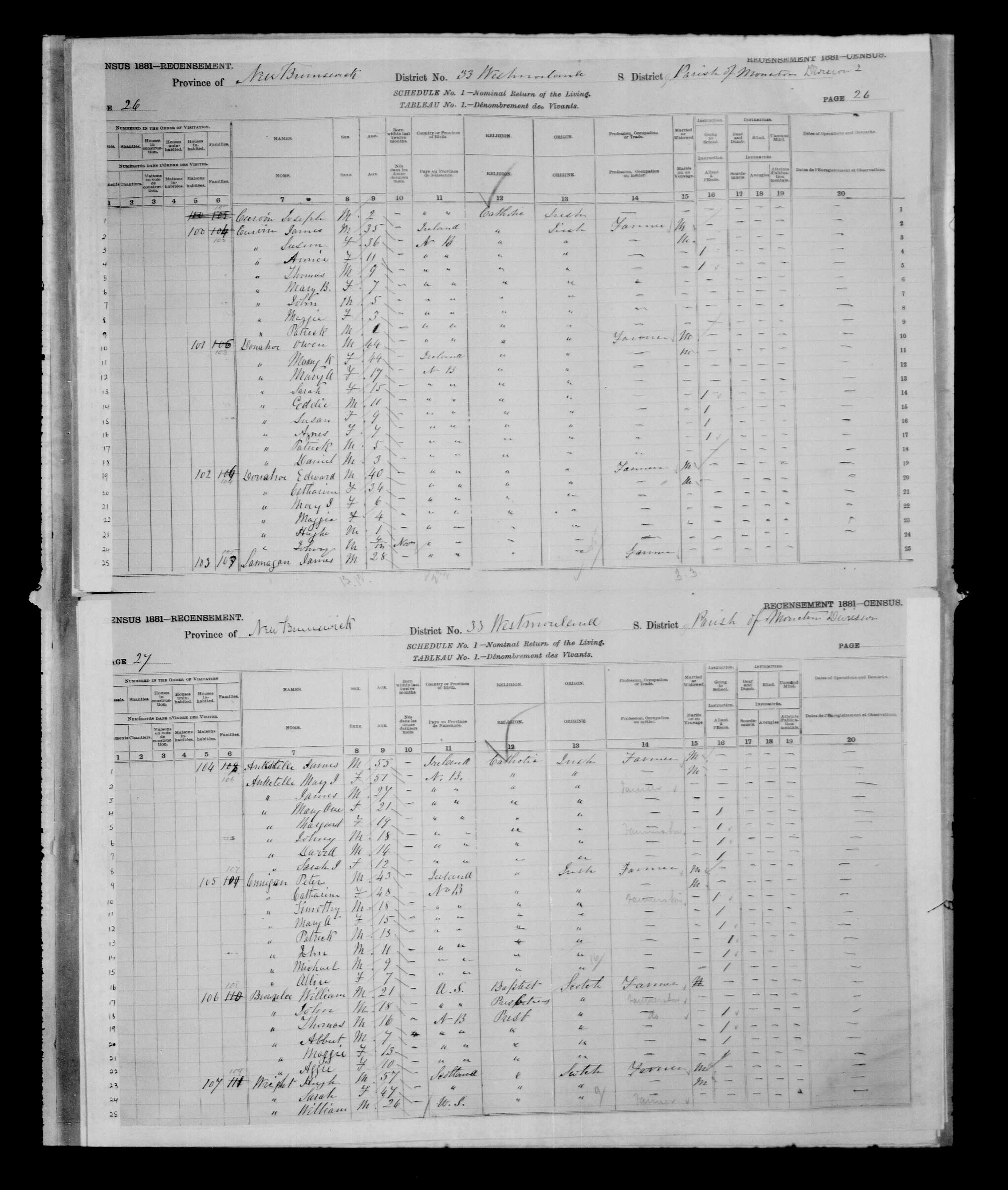 Digitized page of Census of Canada, 1881 for e008134208
