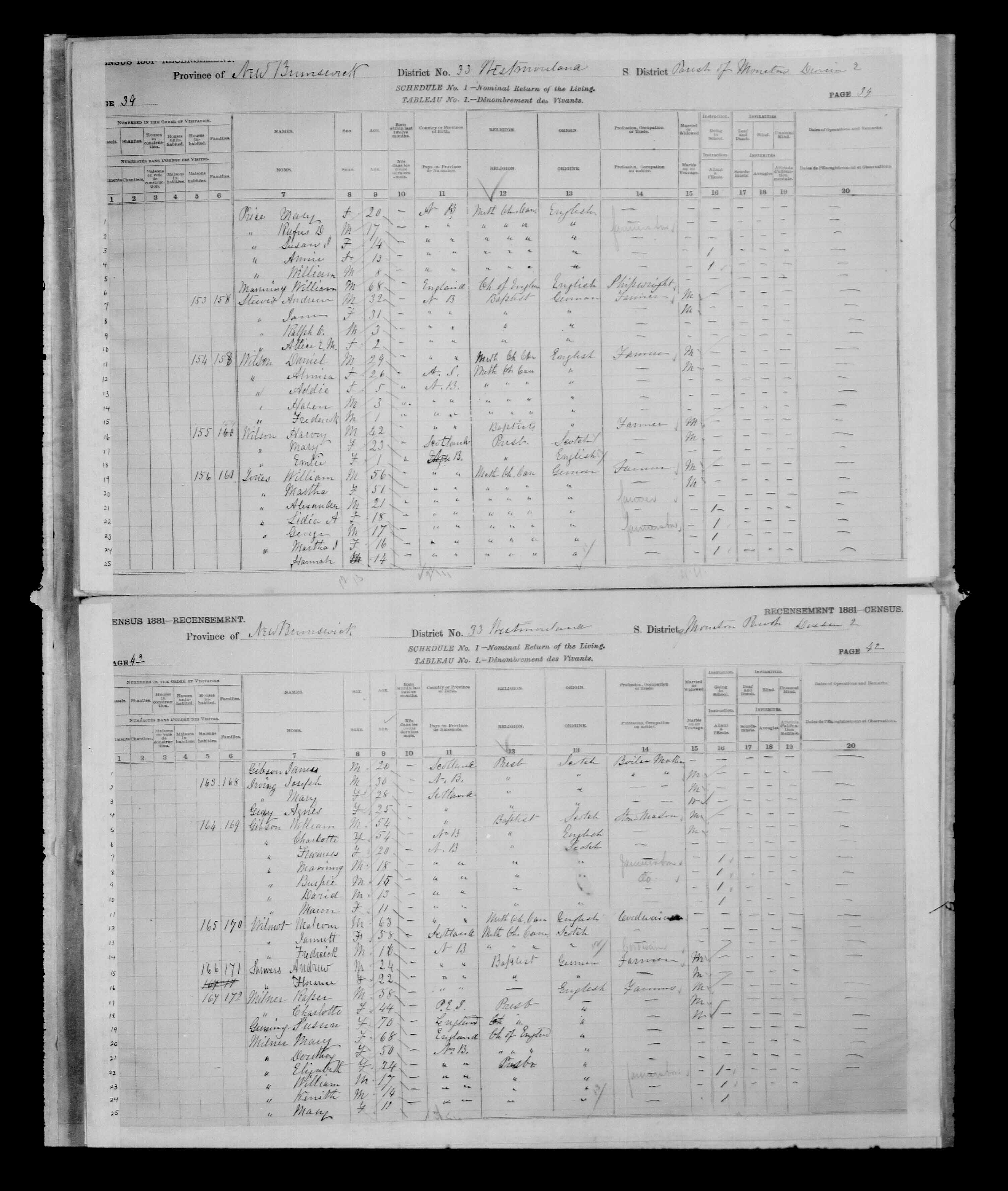 Digitized page of Census of Canada, 1881 for e008134215