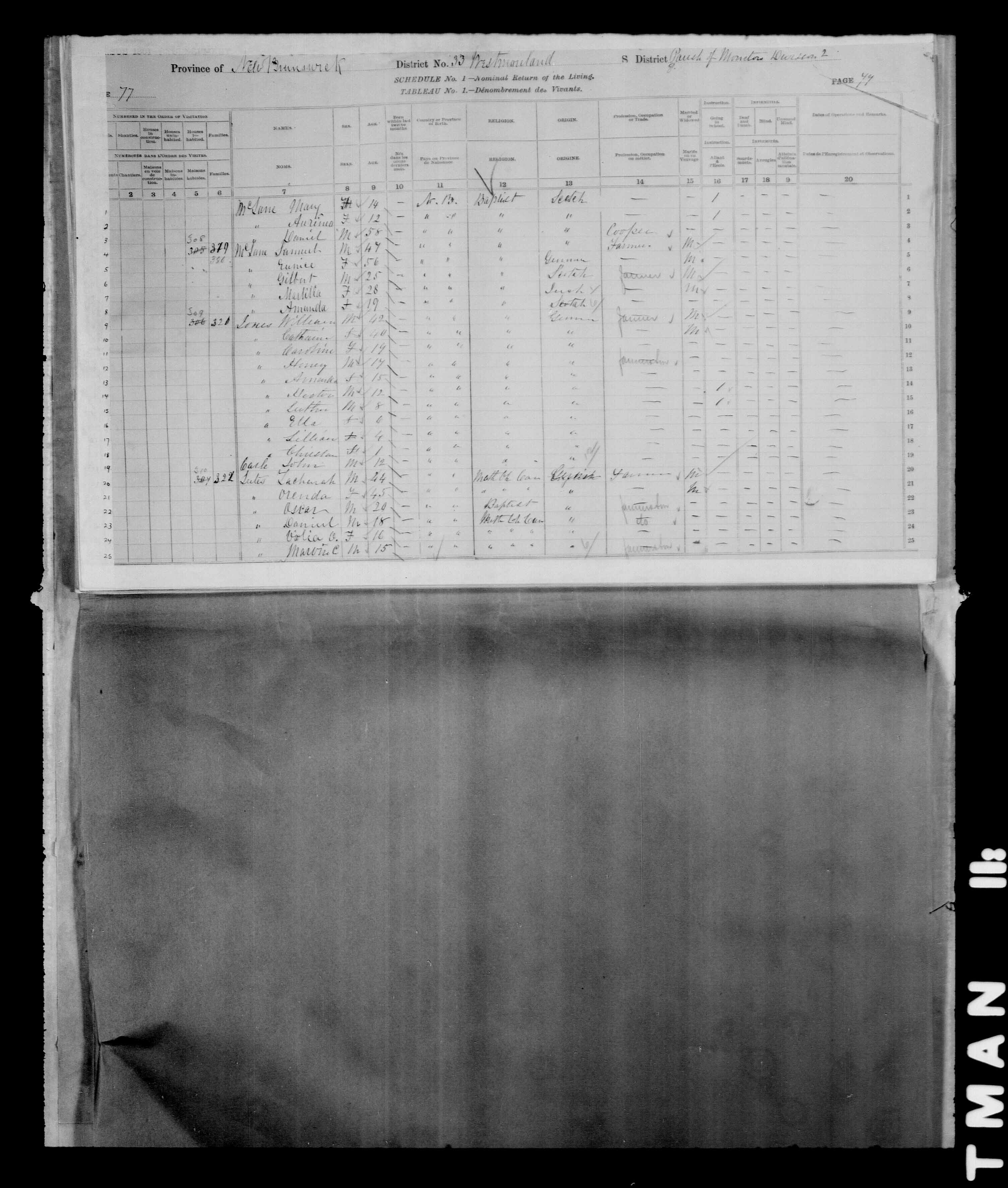 Digitized page of Census of Canada, 1881 for e008134235