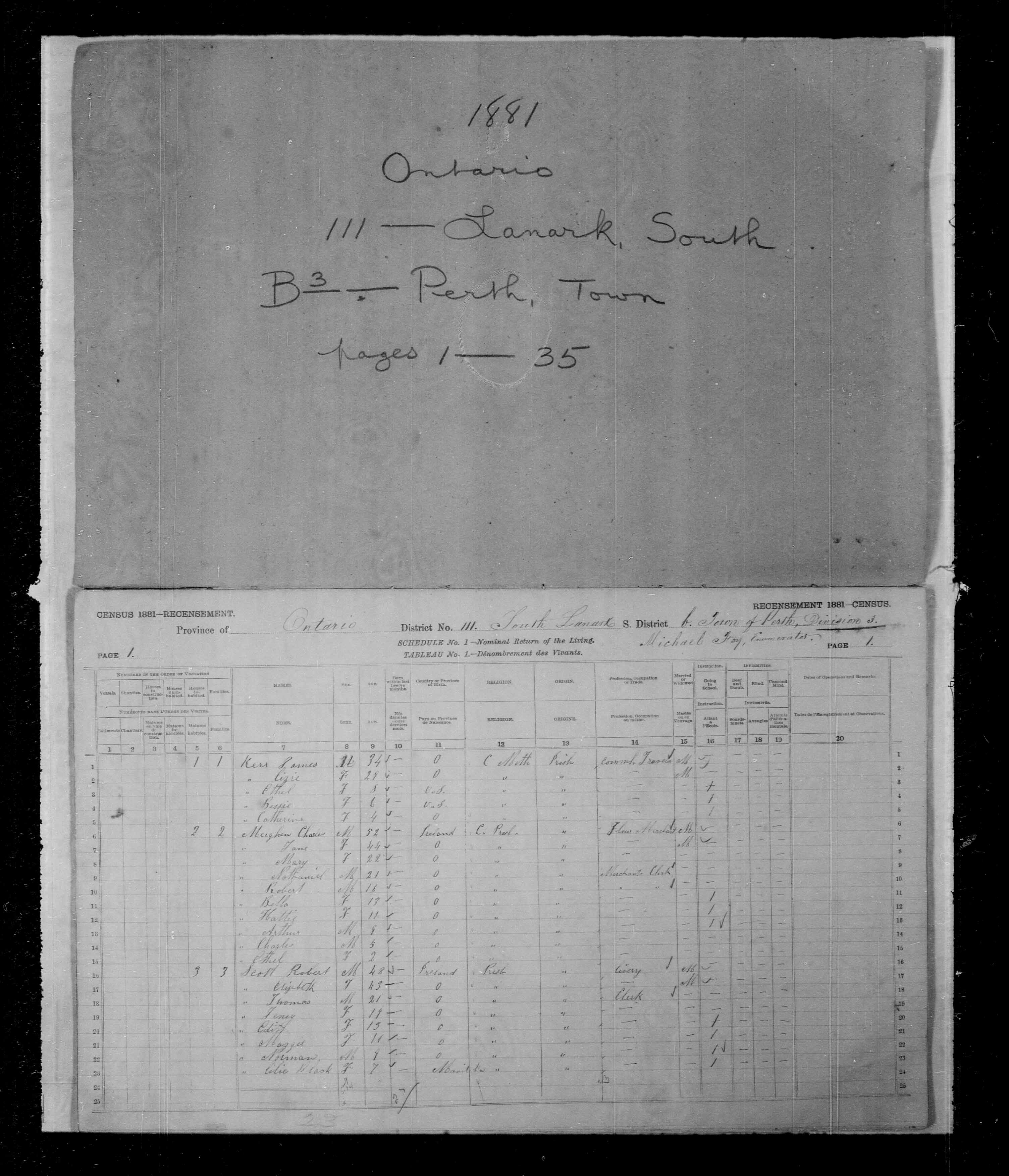 Digitized page of Census of Canada, 1881, Page number 1, for Arthur MEIGHEN