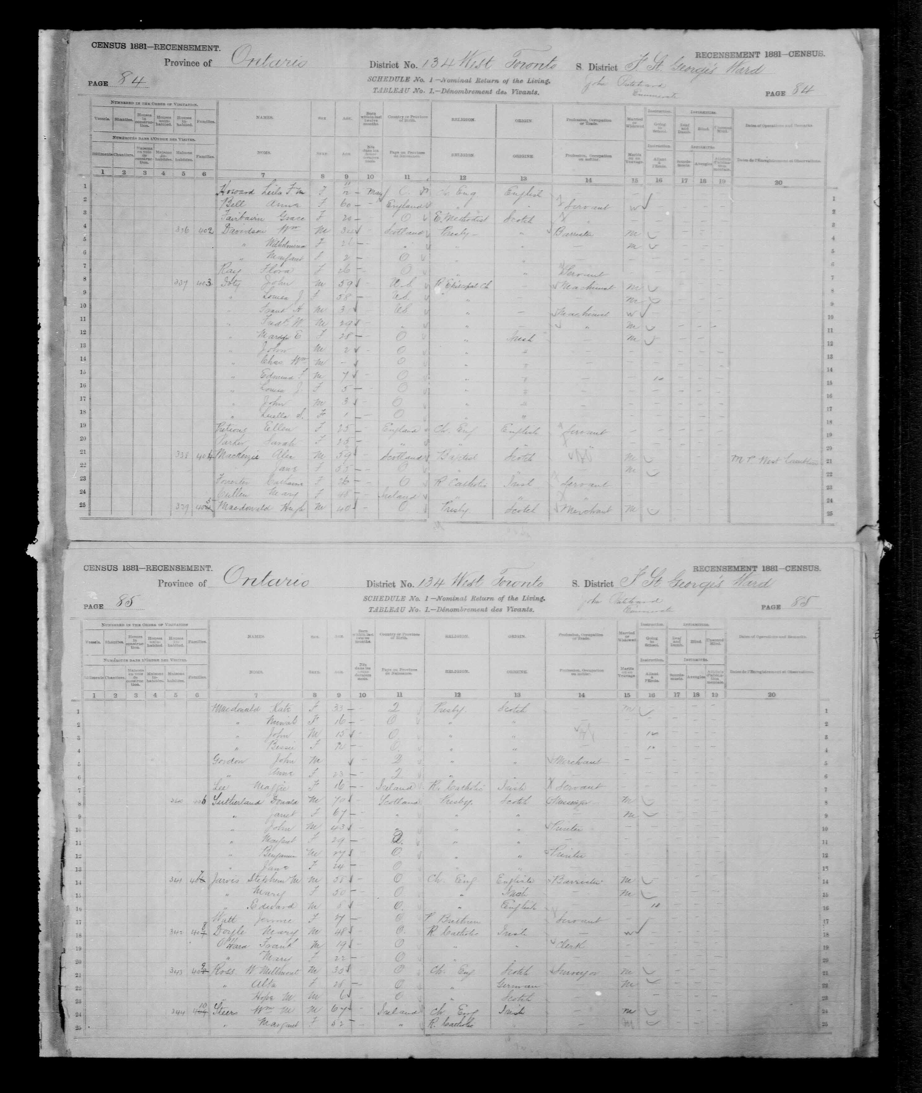 Page numérisée du Recensement du Canada (1881), Page numéro 84, pour Alex MACKENZIE