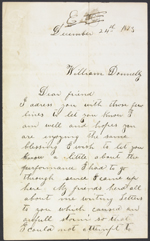 Letter from Margaret Thompson to William Donnelly, Biddulph Township. Dec. 24, 1873. Page 1