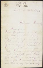 Letter from Margaret Thompson to William Donnelly, Biddulph Township. April 30, 1873. Page 1