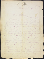 Lettre de Margaret Thompson à William Donnelly, canton de Biddulph. 22 avril 1873. Une page.