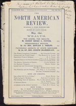 Front page of the NORTH AMERICAN REVIEW, with handwriting noting that this is what Sir�John�A.�Macdonald was reading when he suffered a stroke, May 1891