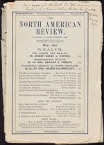 Page couverture d'un exemplaire du périodique NORTH AMERICAN REVIEW sur laquelle figure une note manuscrite indiquant que sirJohnA.Macdonald était en train de le lire avant de souffrir d'un accident vasculaire cérébral, mai 1891