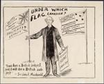 Affiche électorale sur laquelle on peut lire: «Under Which Flag, Canadian?» (« Sous quel drapeau, le Canada? »), 1891