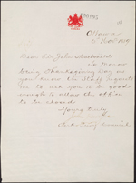 Privy Council Office letter to Sir�John�A.�Macdonald requesting that staff have Thanksgiving Day off work, November�6,�1889