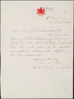 Lettre du Bureau du Conseil privé à sirJohnA.Macdonald demandant un congé pour les employés le jour de l'Action de grâces, le 6 novembre 1889