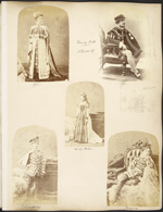 Page 26 from Princess Louise's album with five photographs of Lord and Lady Dufferin and their three children dressed as the Court of King James V of Scotland, Ottawa, March�18,�1876