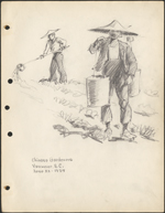 Pencil sketch of two men gardening and wearing broad-brimmed hats, one carrying yoke and water buckets, the other watering garden